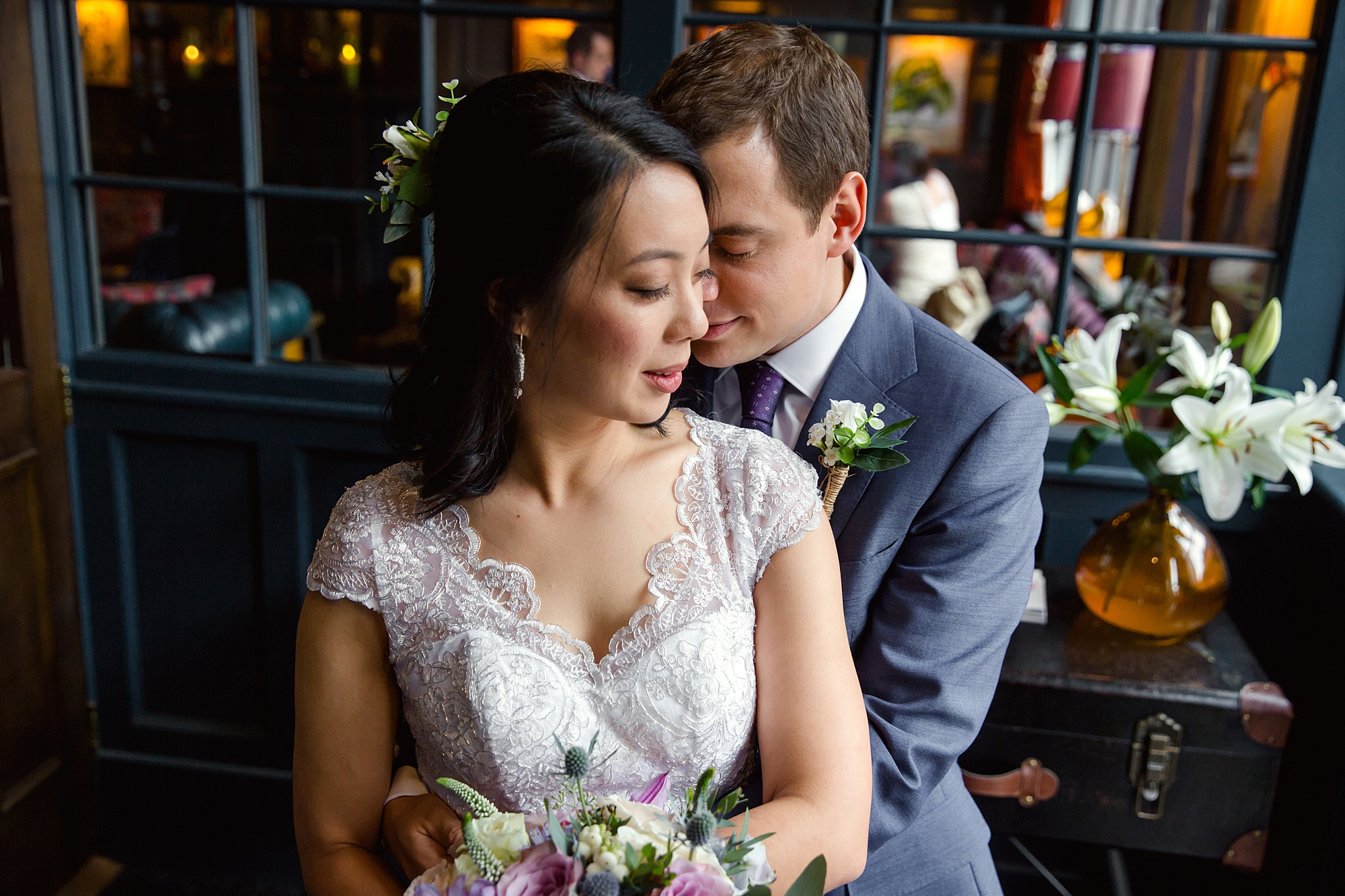 Wandsworth pub wedding groom and bride cuddle together