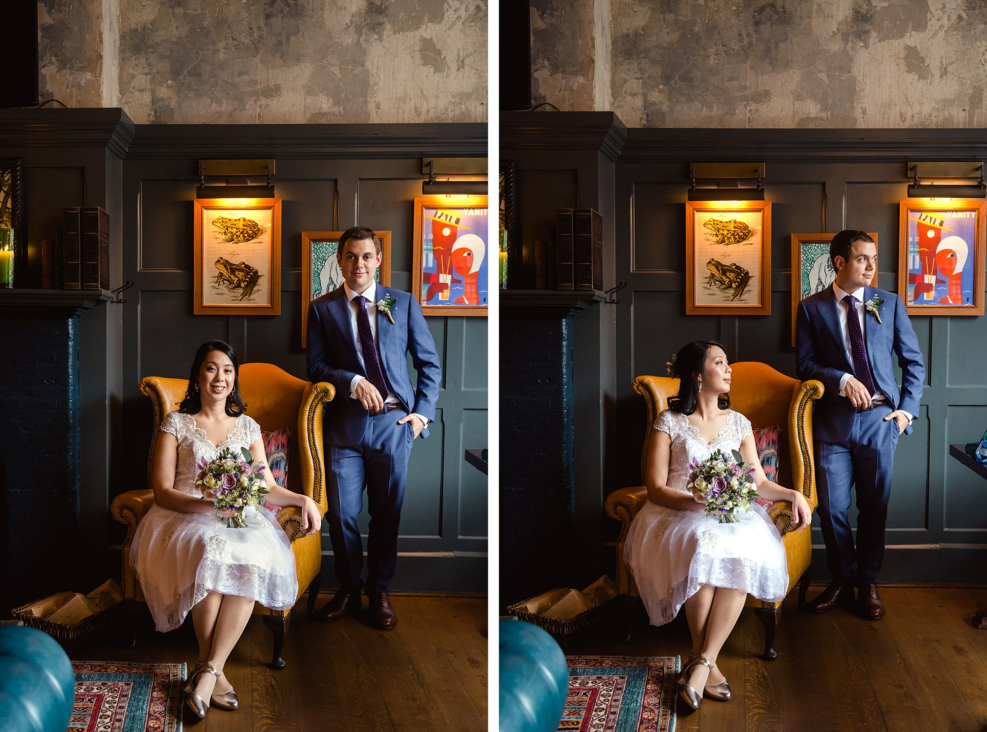 Wandsworth pub wedding bride and groom in chairs