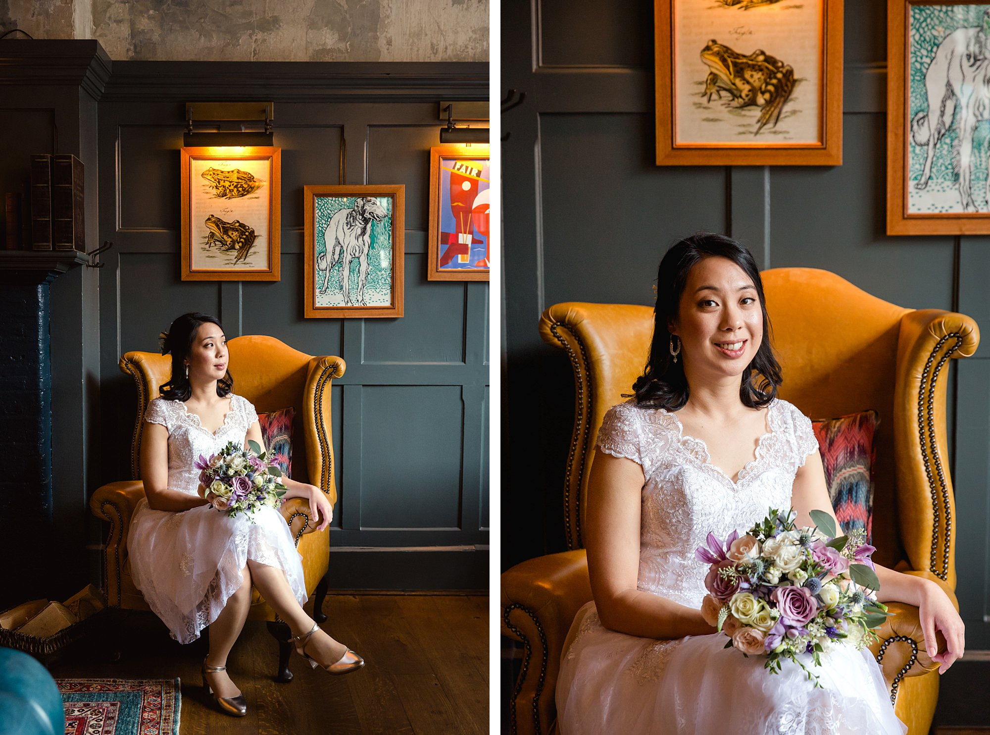 Wandsworth pub wedding portrait of bride