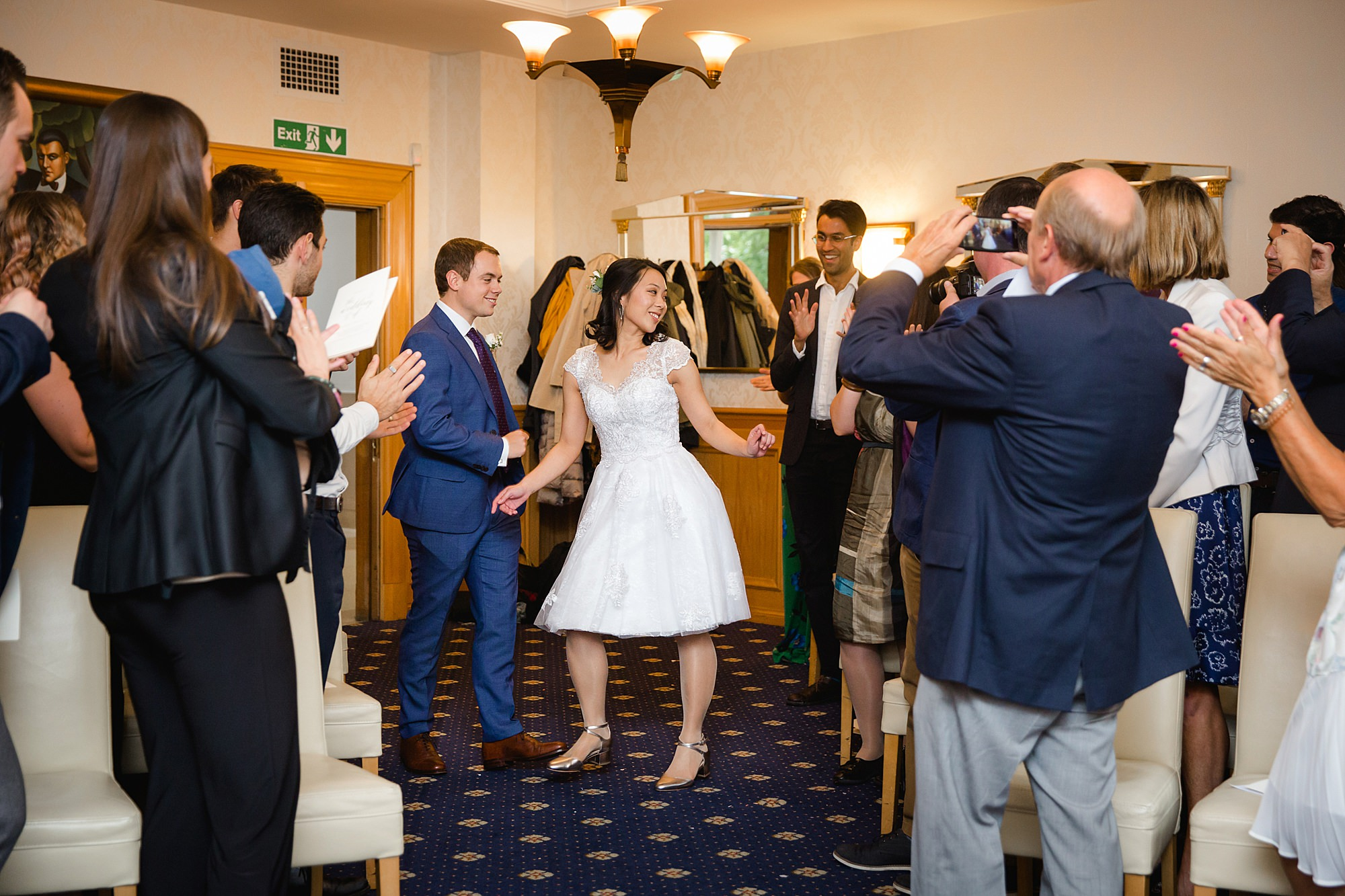 Wandsworth pub wedding bride and groom dance down the aisle