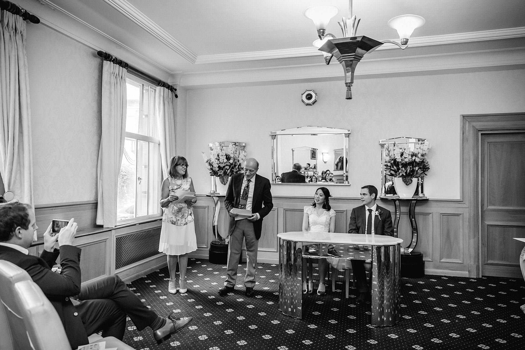 Wandsworth pub wedding reading during wedding ceremony