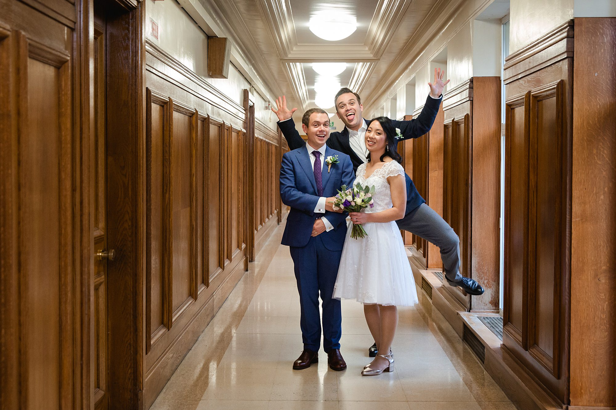 Wandsworth pub wedding fun portrait in town hall