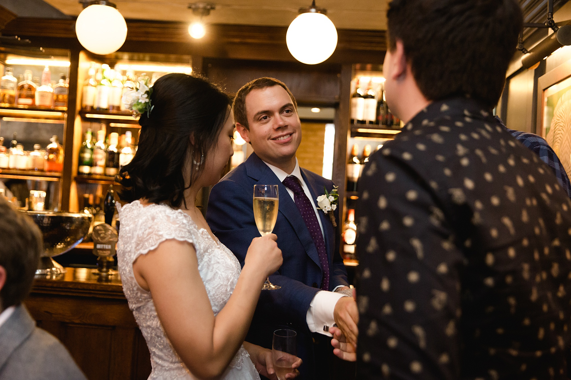 Wandsworth pub wedding groom chatting with guests