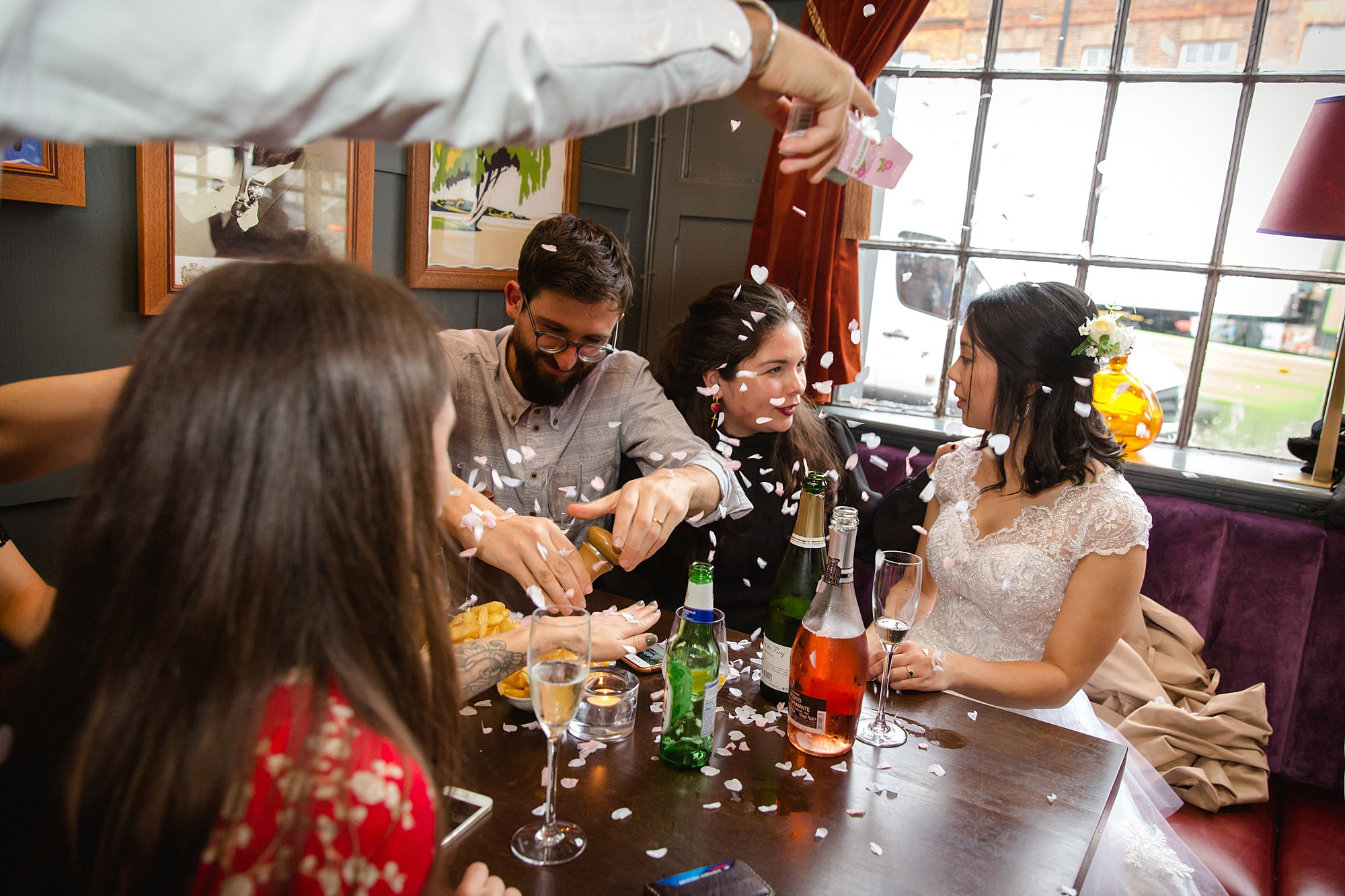 Wandsworth pub wedding confetti thrown on bride