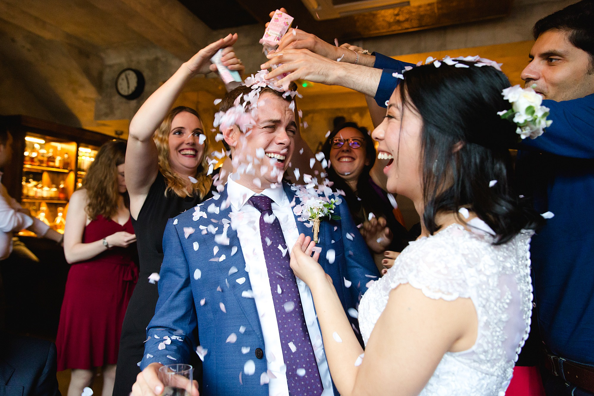Wandsworth pub wedding bride and groom surprised with confetti
