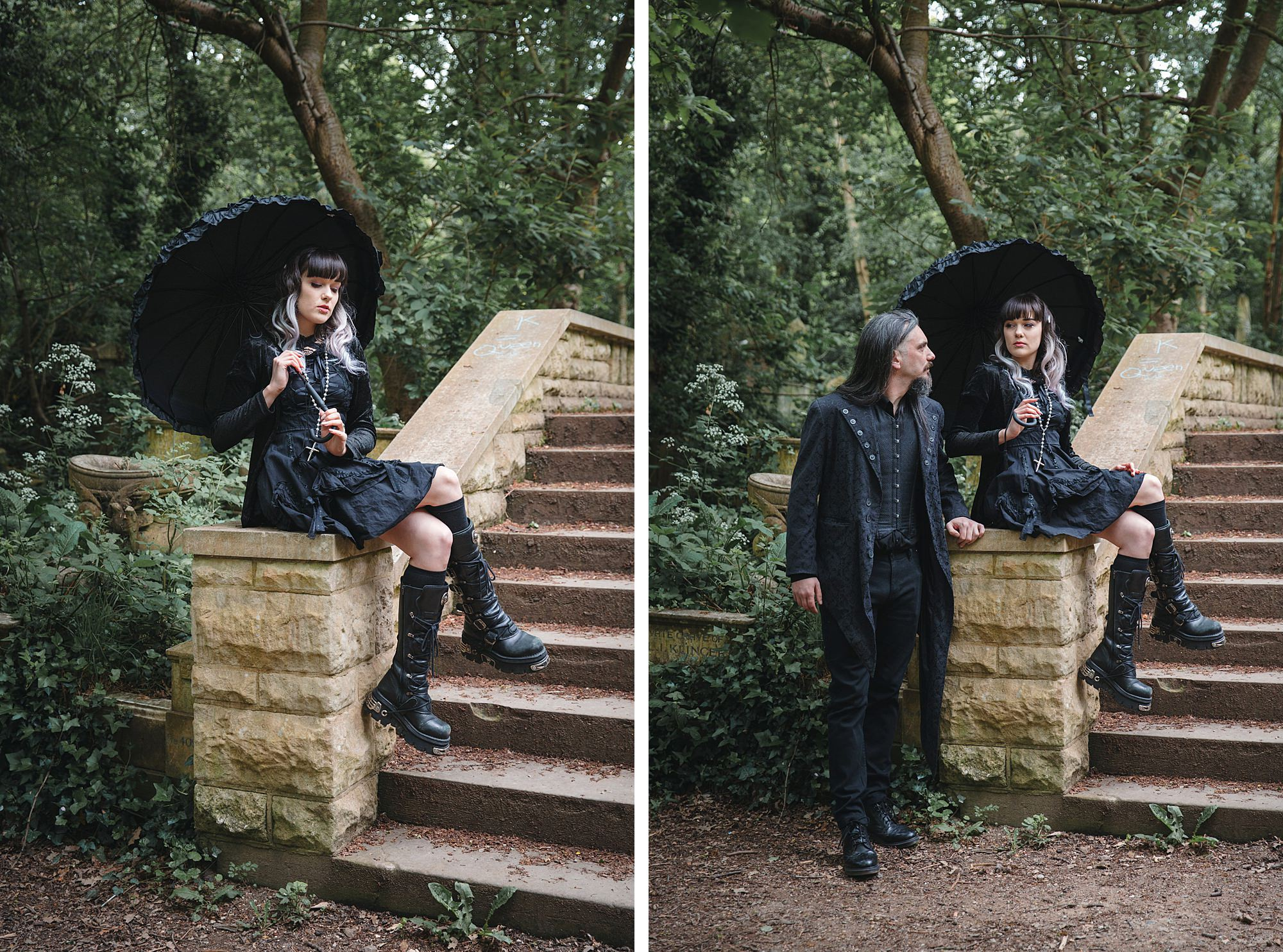 gothic engagement shoot on stone steps