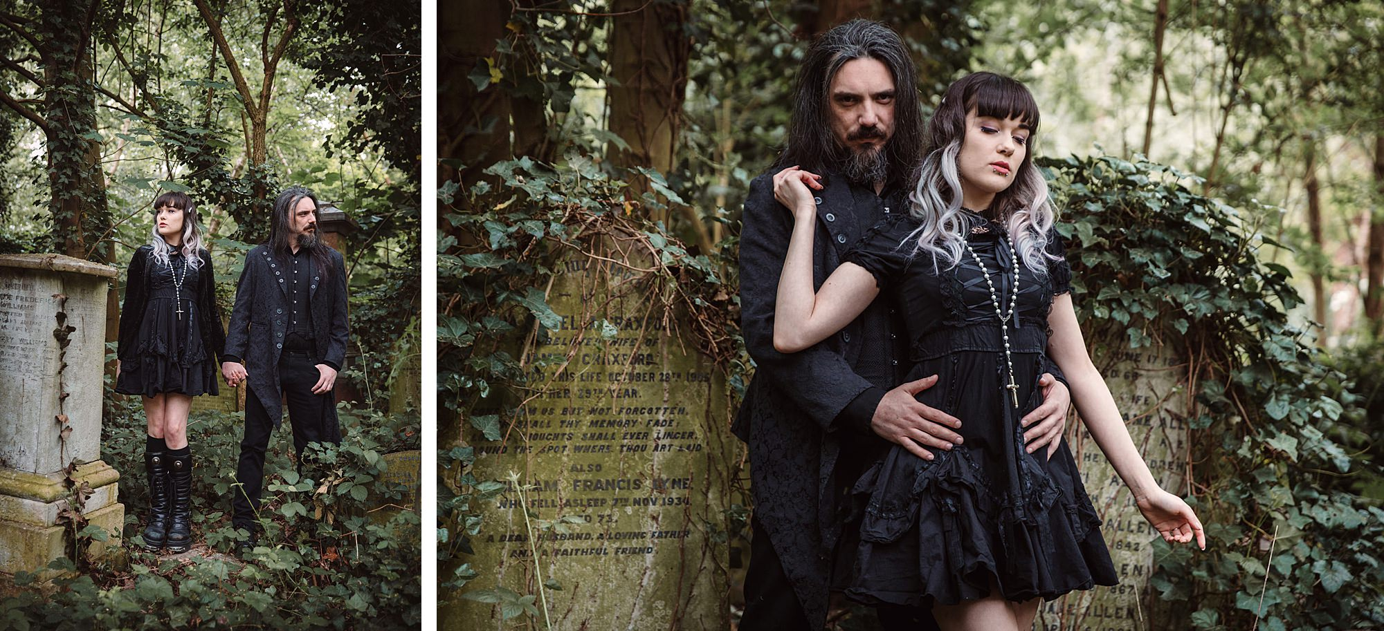 gothic engagement shoot couple together