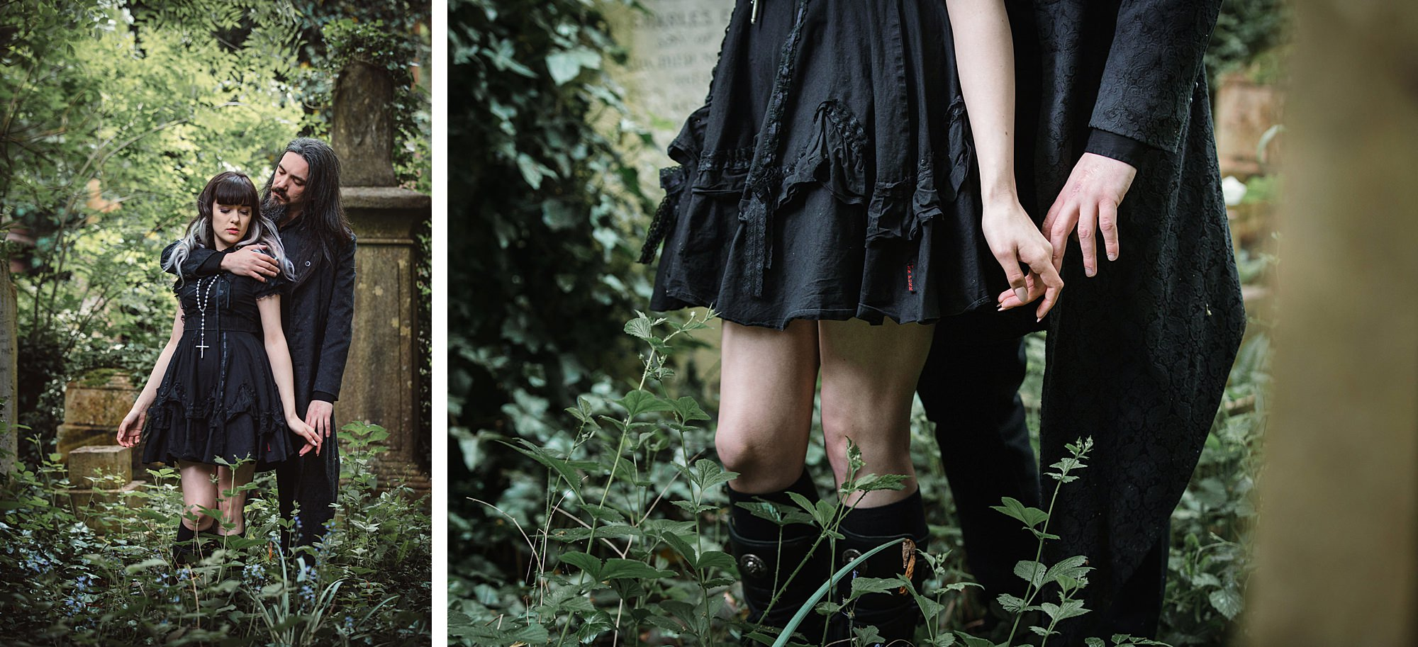 gothic engagement shoot couple hold hands