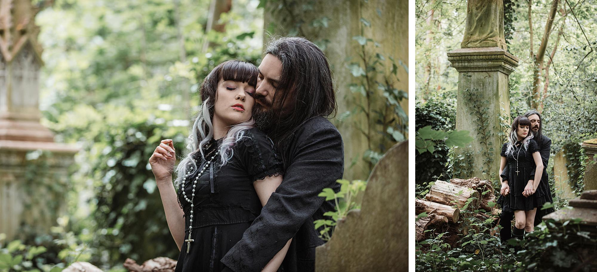 gothic engagement shoot groom hugs bride