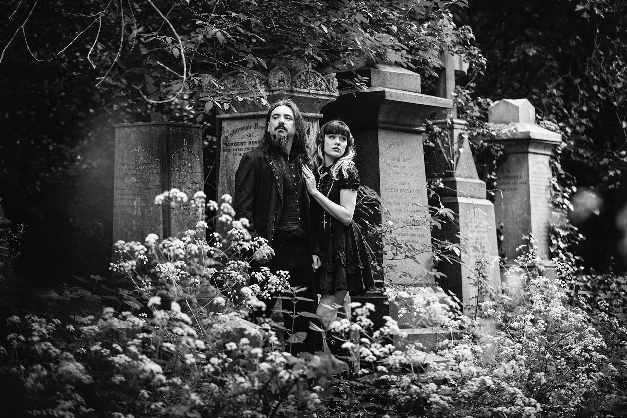 gothic engagement shoot black and white portrait