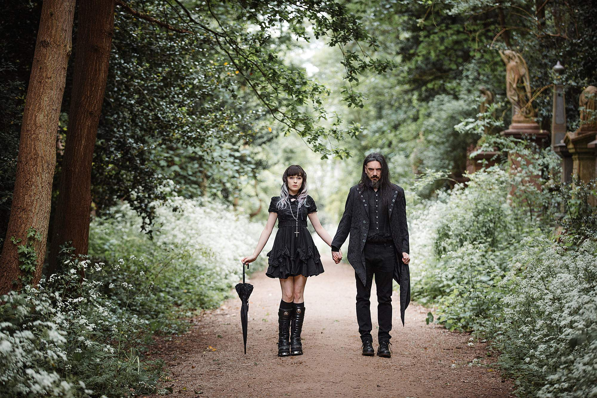 gothic engagement shoot lolita style couple
