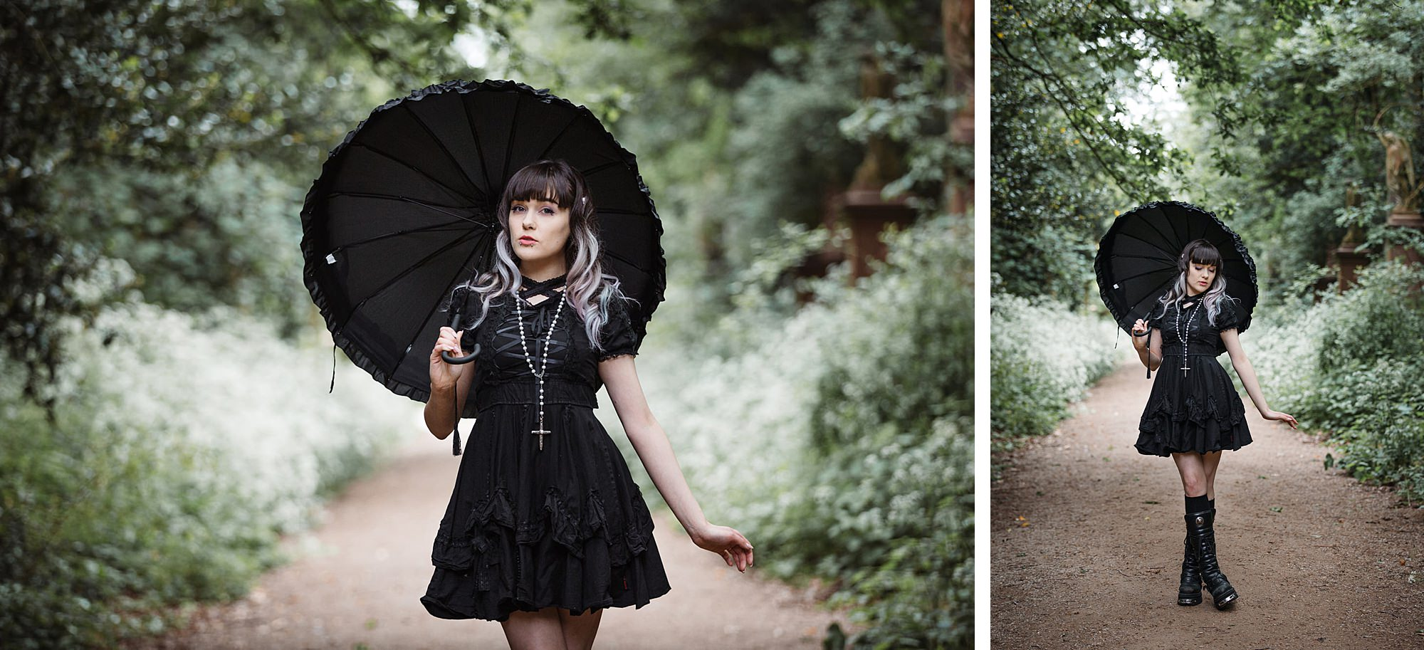 gothic engagement shoot lolita bride in black