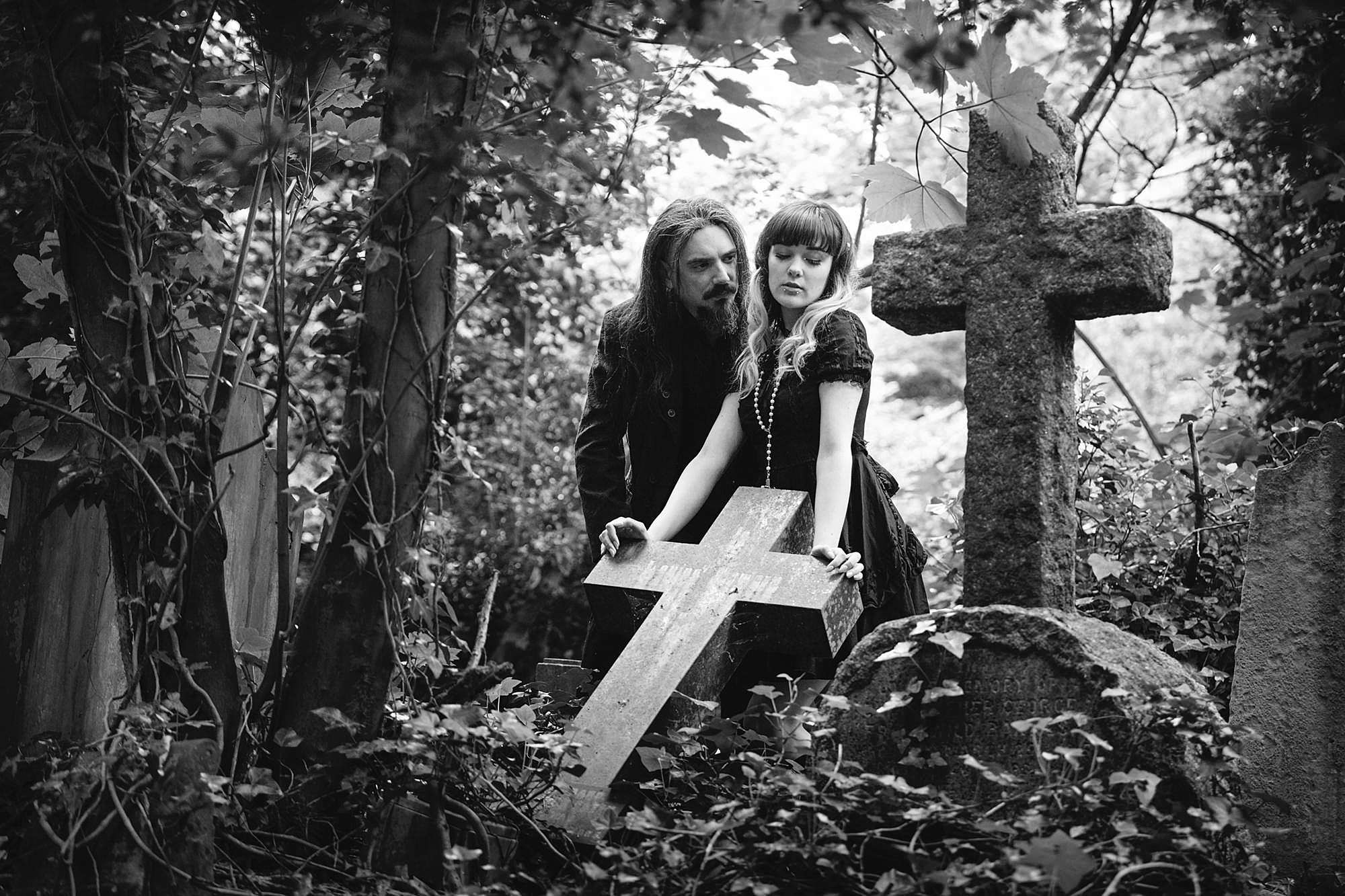 gothic engagement shoot with old cross