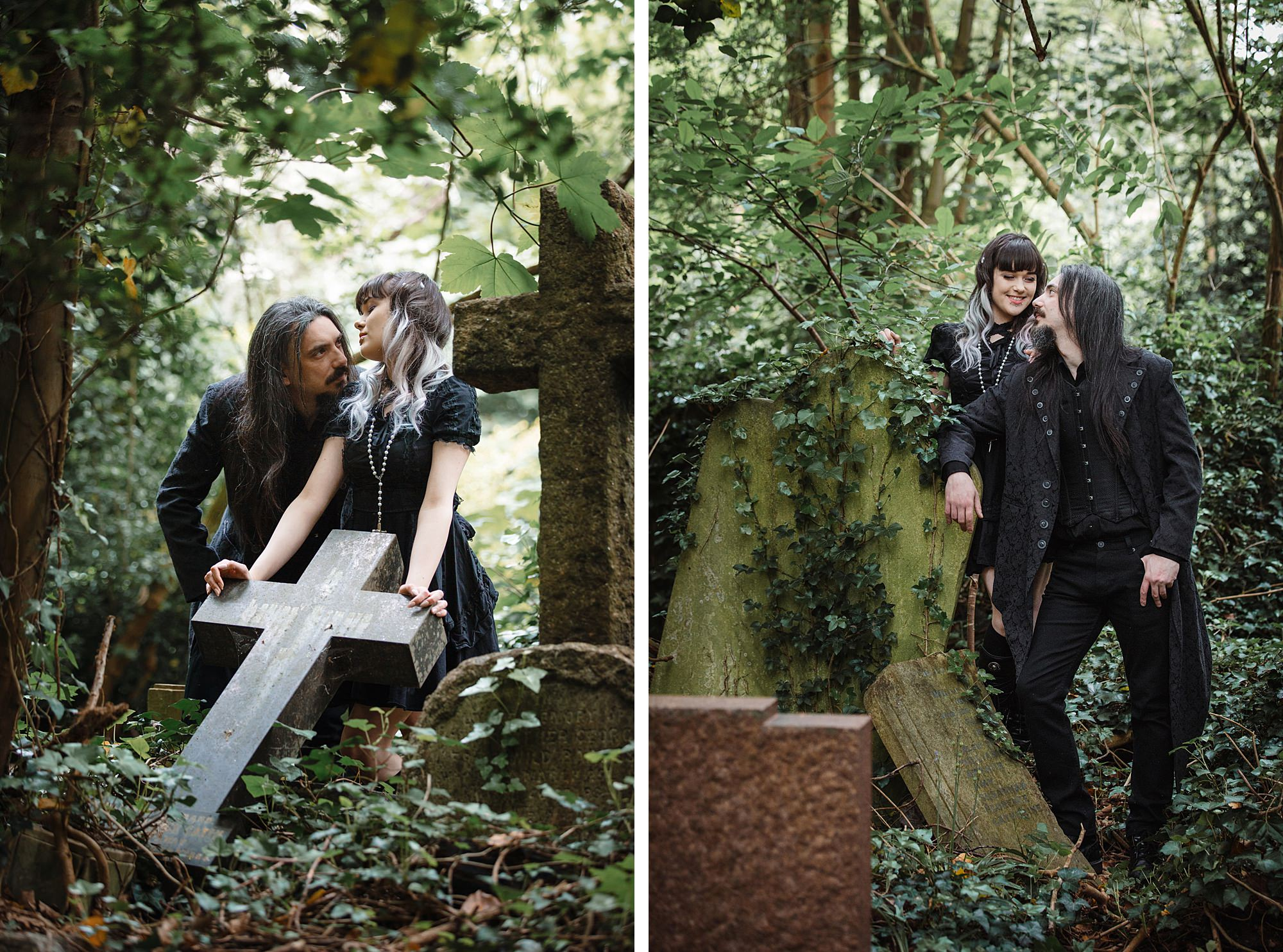 gothic engagement shoot couple with old cross