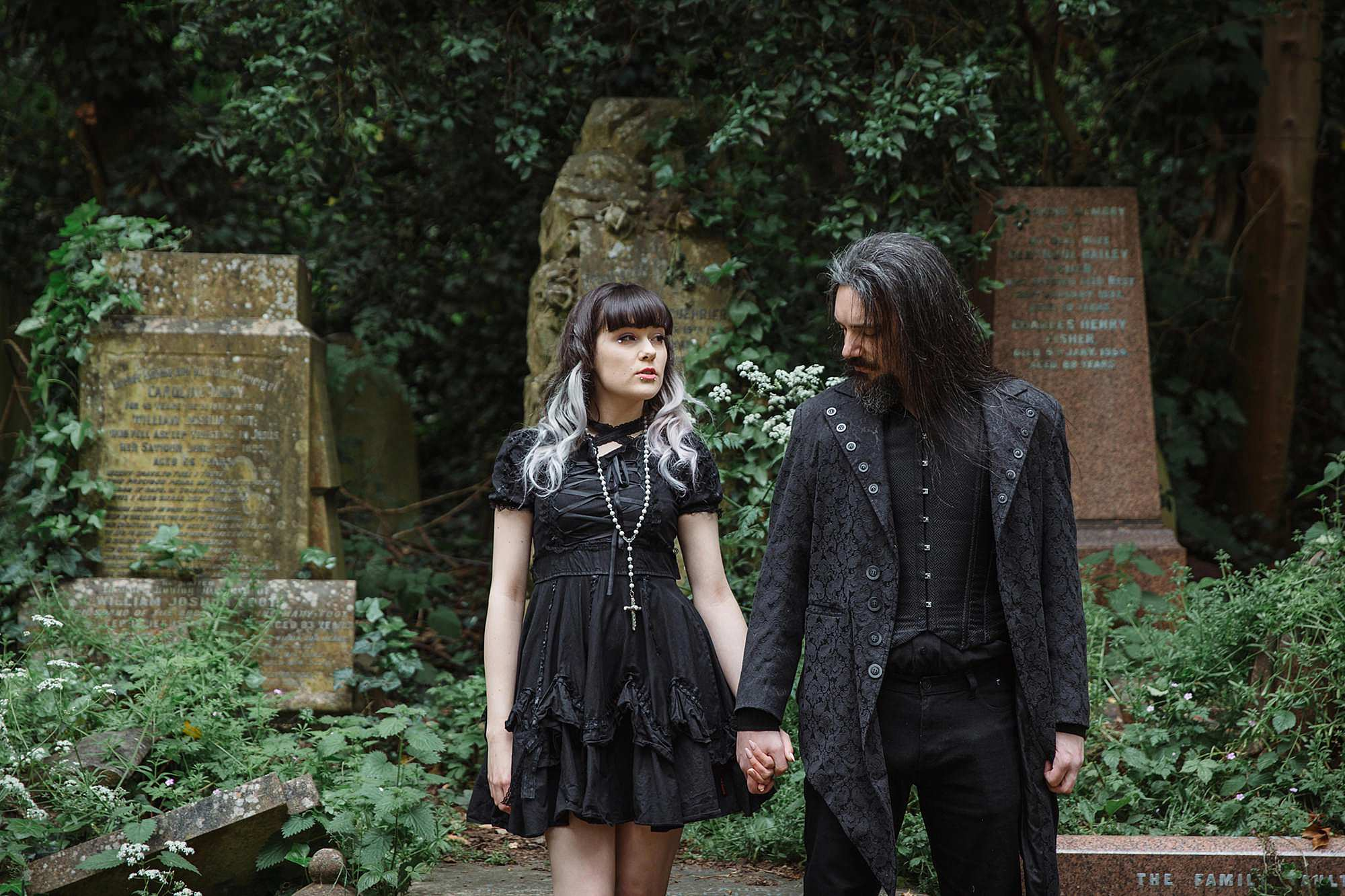 gothic engagement shoot couple in black