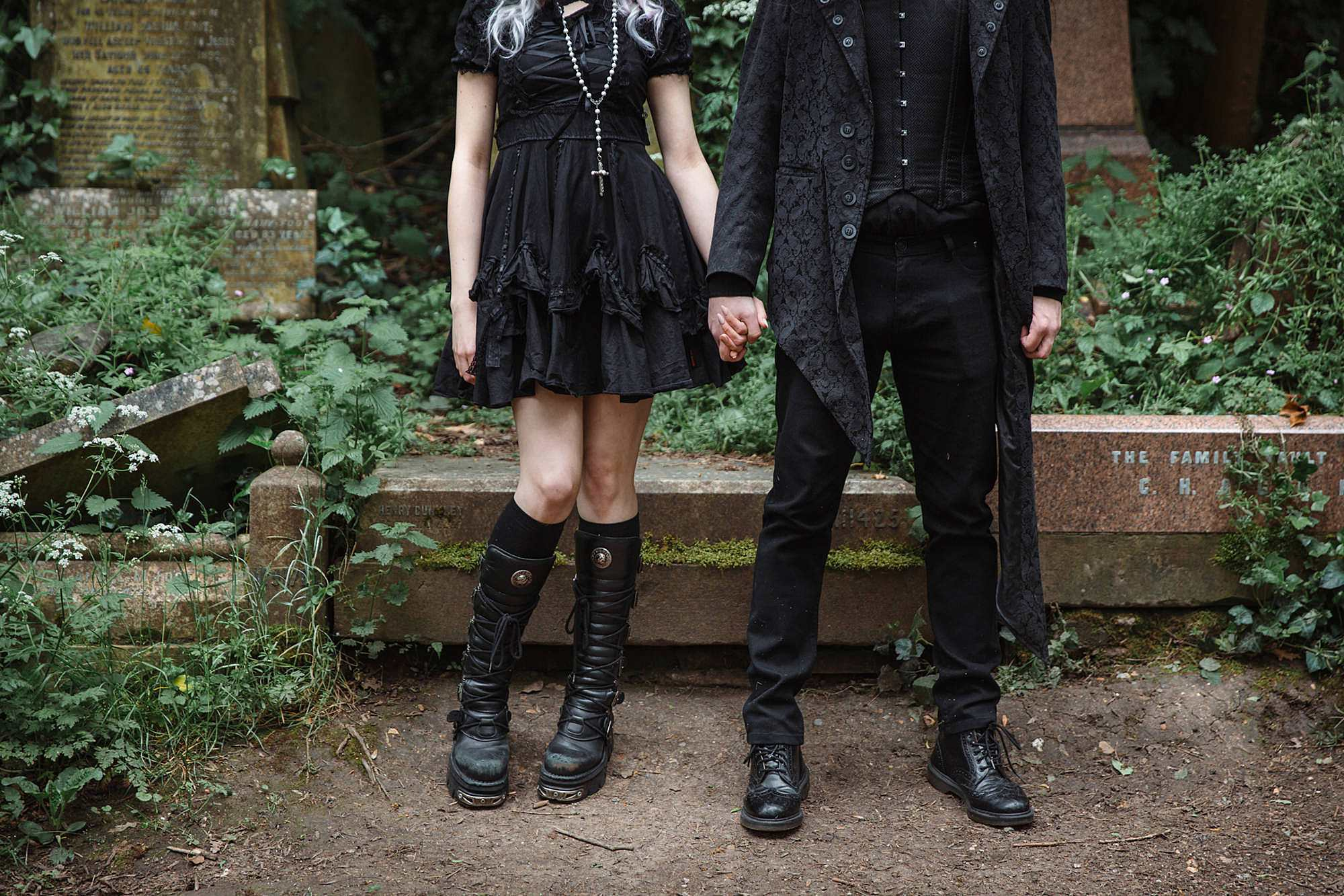gothic engagement shoot black outfits