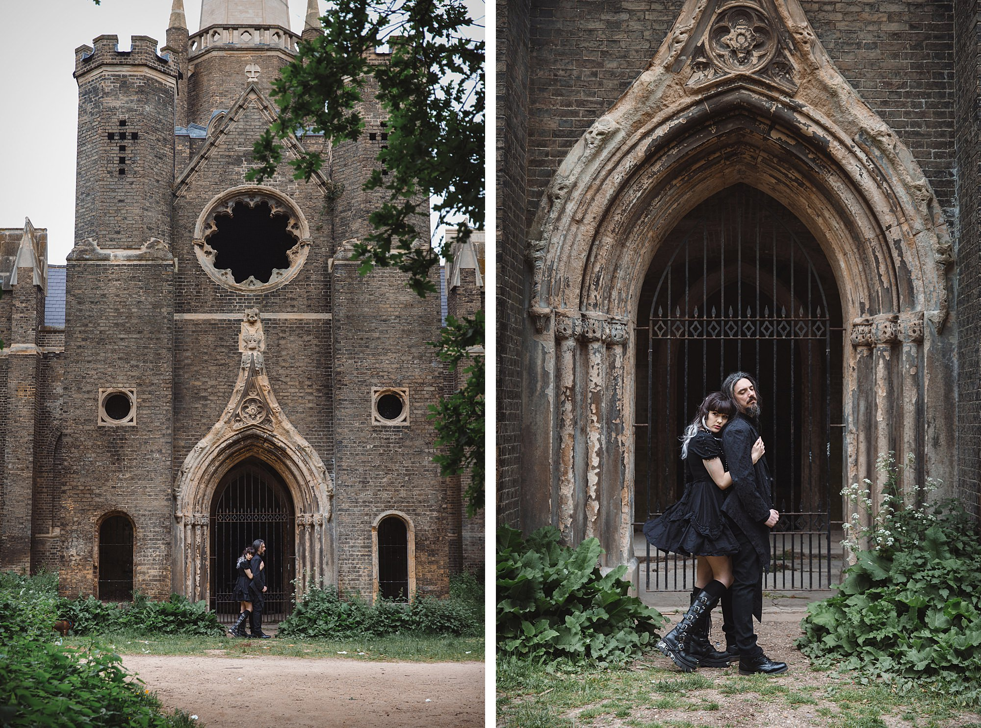 gothic engagement shoot couple by ruined church