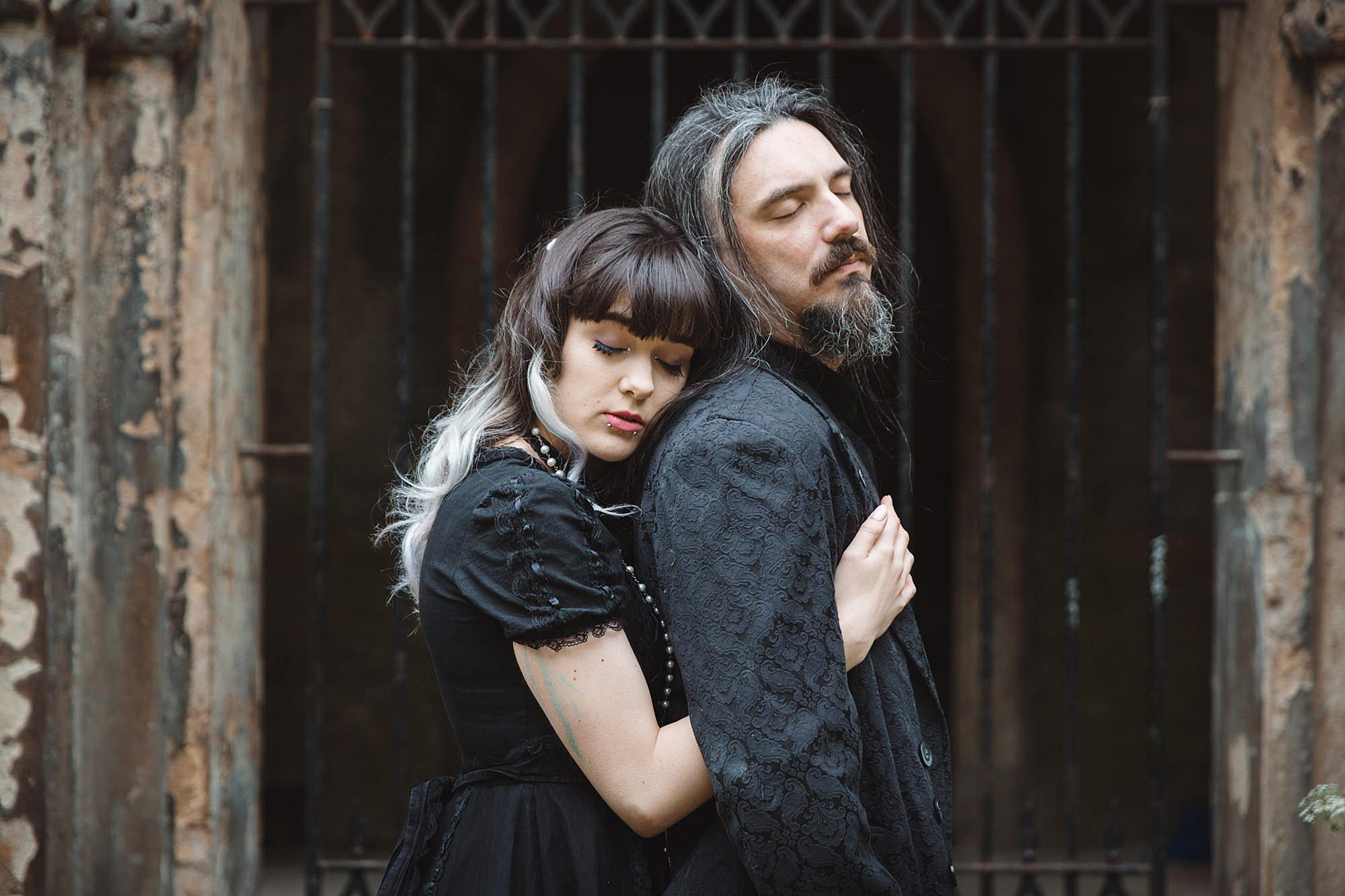 gothic engagement shoot gothic couple