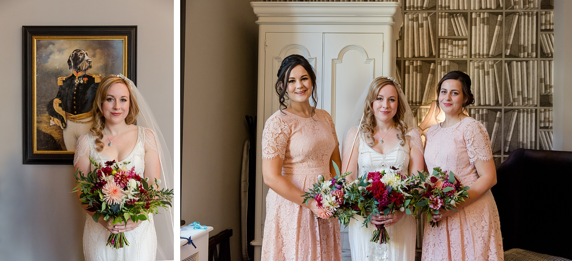 bride and bridesmaids ahead of Harrild and sons wedding