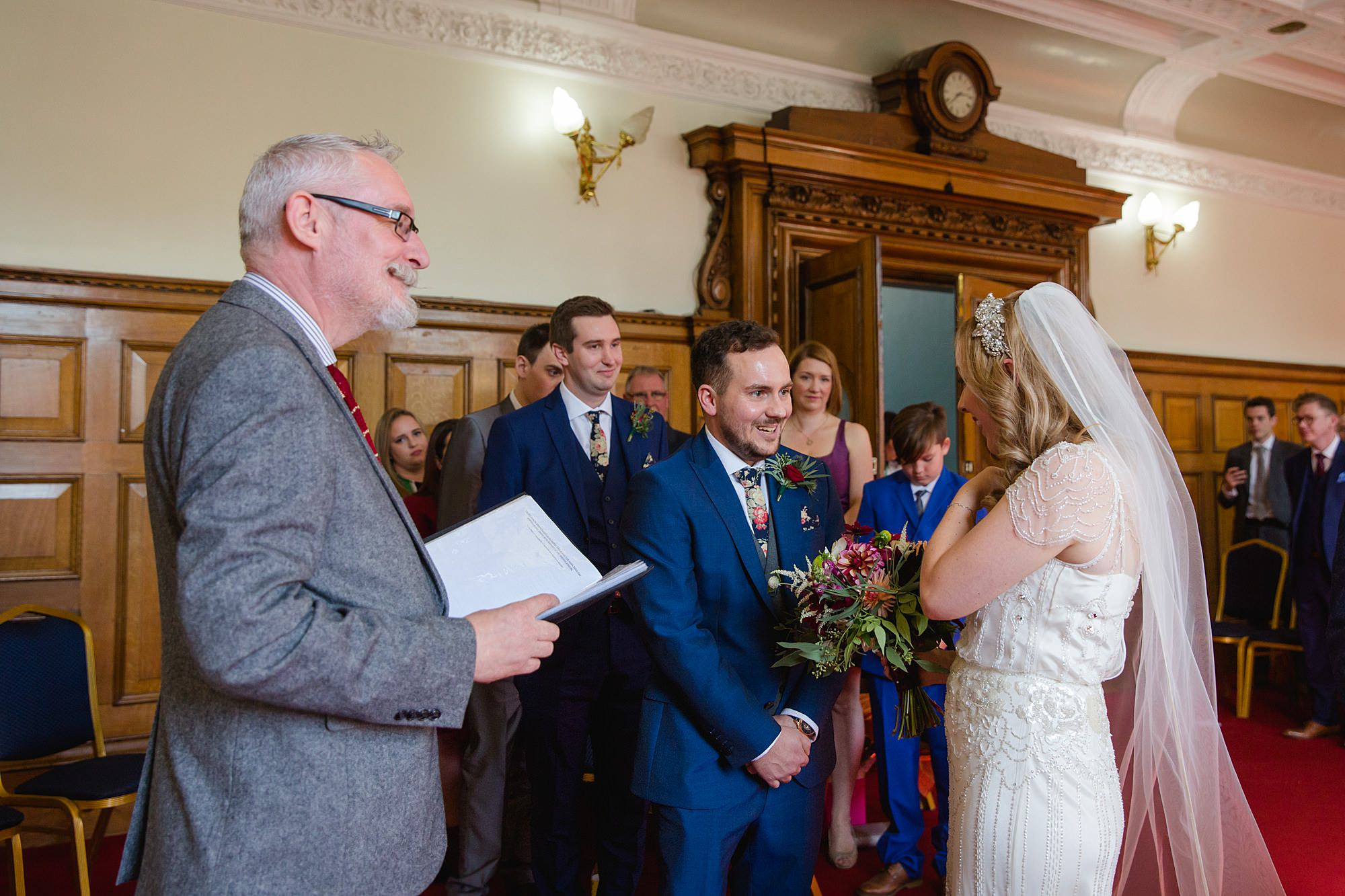 groom greets his bride ahead of ceremony