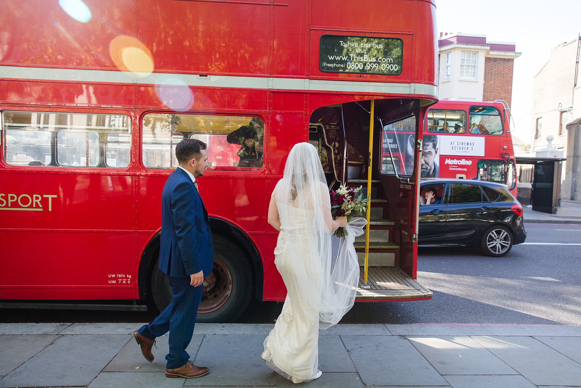 bride and groom get on bus ti Harrild and sons wedding