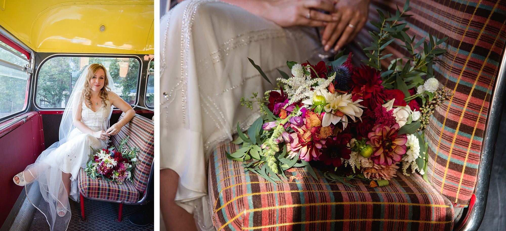 bride sits on vintage bus with flowers