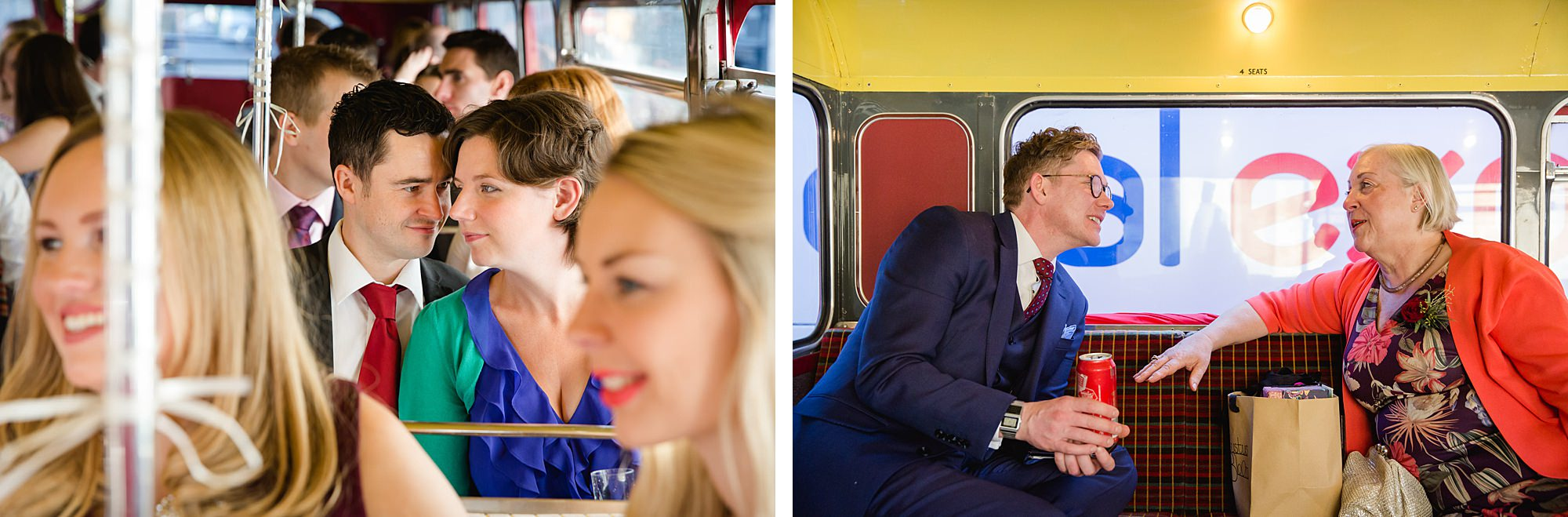 wedding guests chatting on a bus