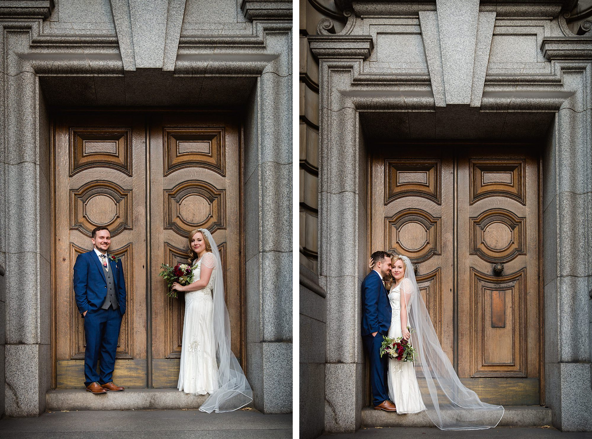 Harrild and sons wedding bride and groom in ornate doorway