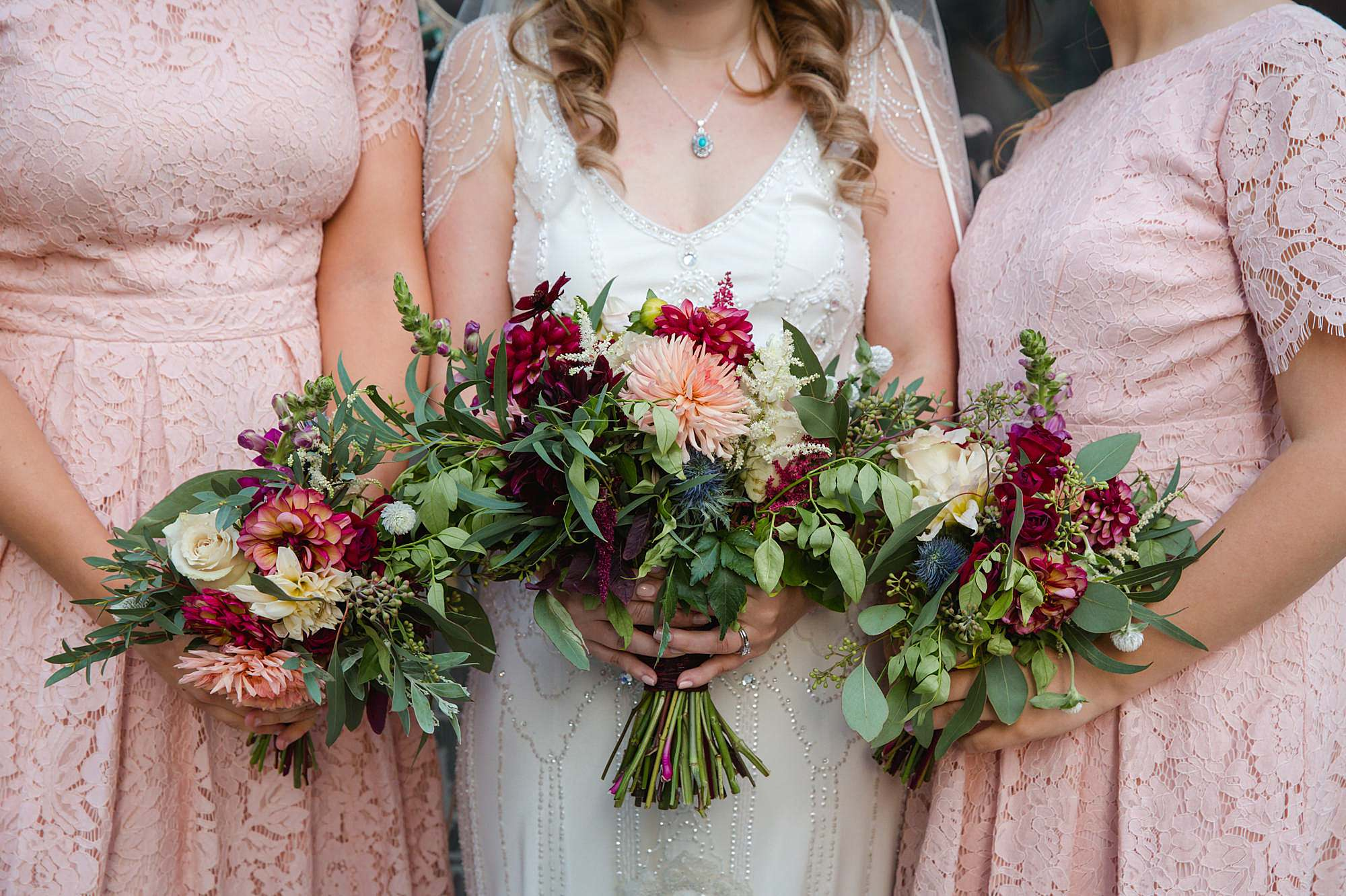 close up detail of wedding bouquets