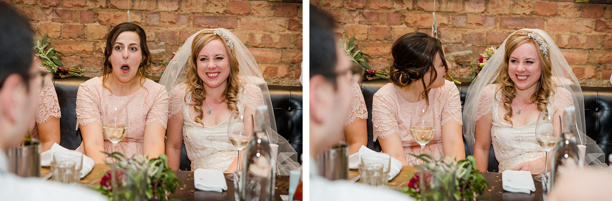 bride laughs at groom's speech at Harrild and sons wedding