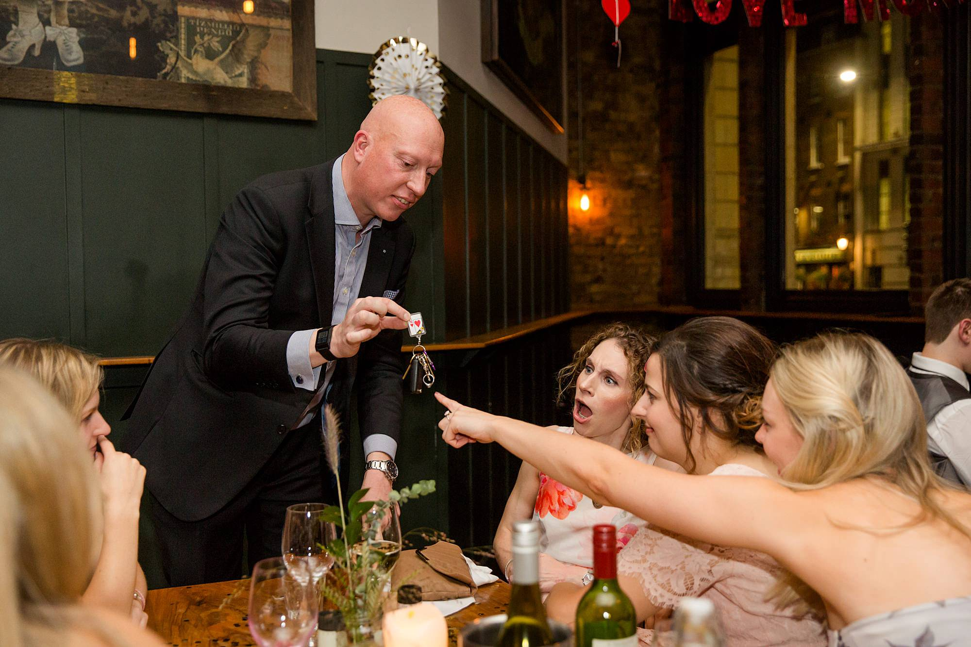 Harrild and sons wedding magician performs for guests