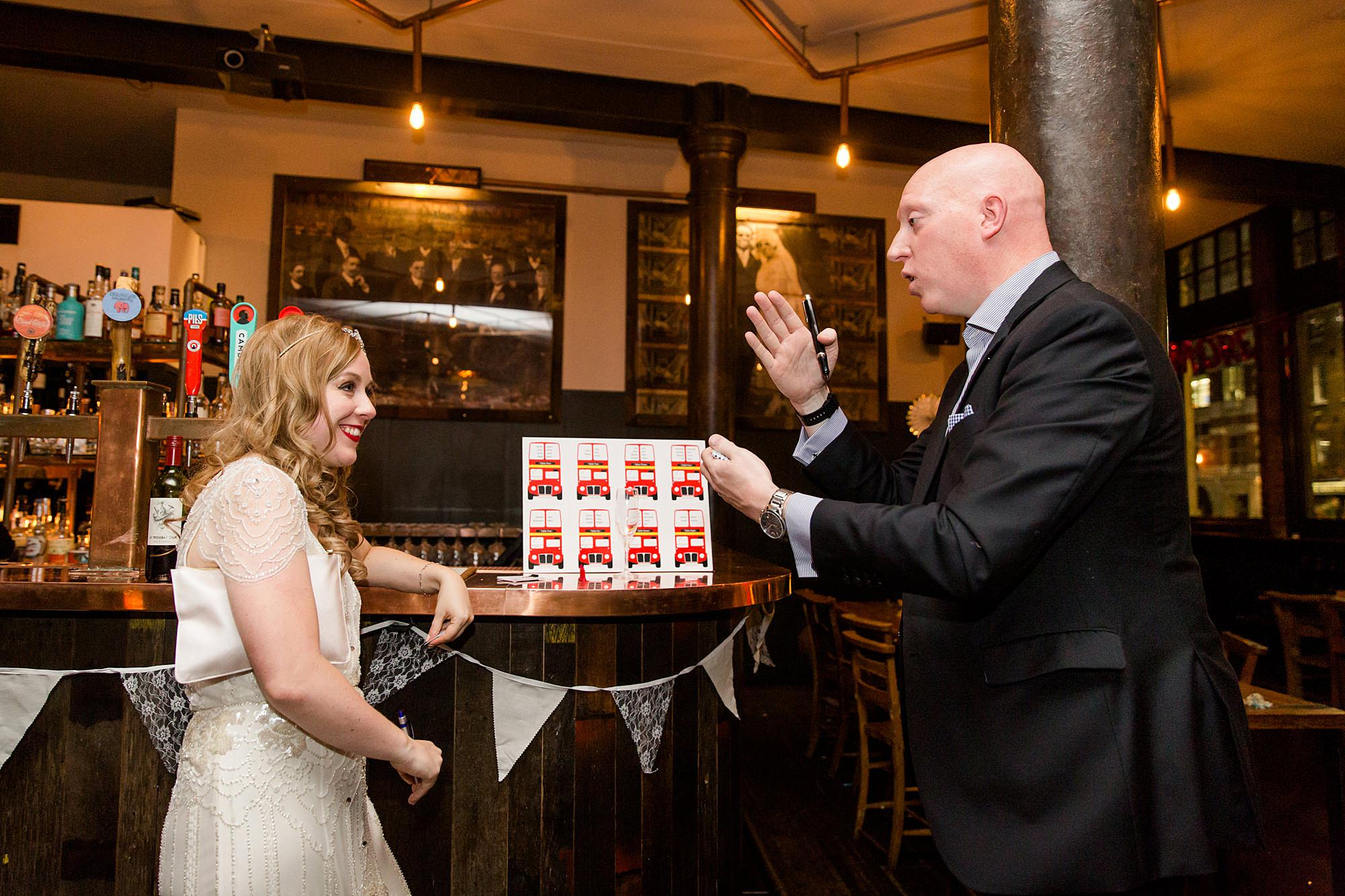 A magician performs tricks for bride