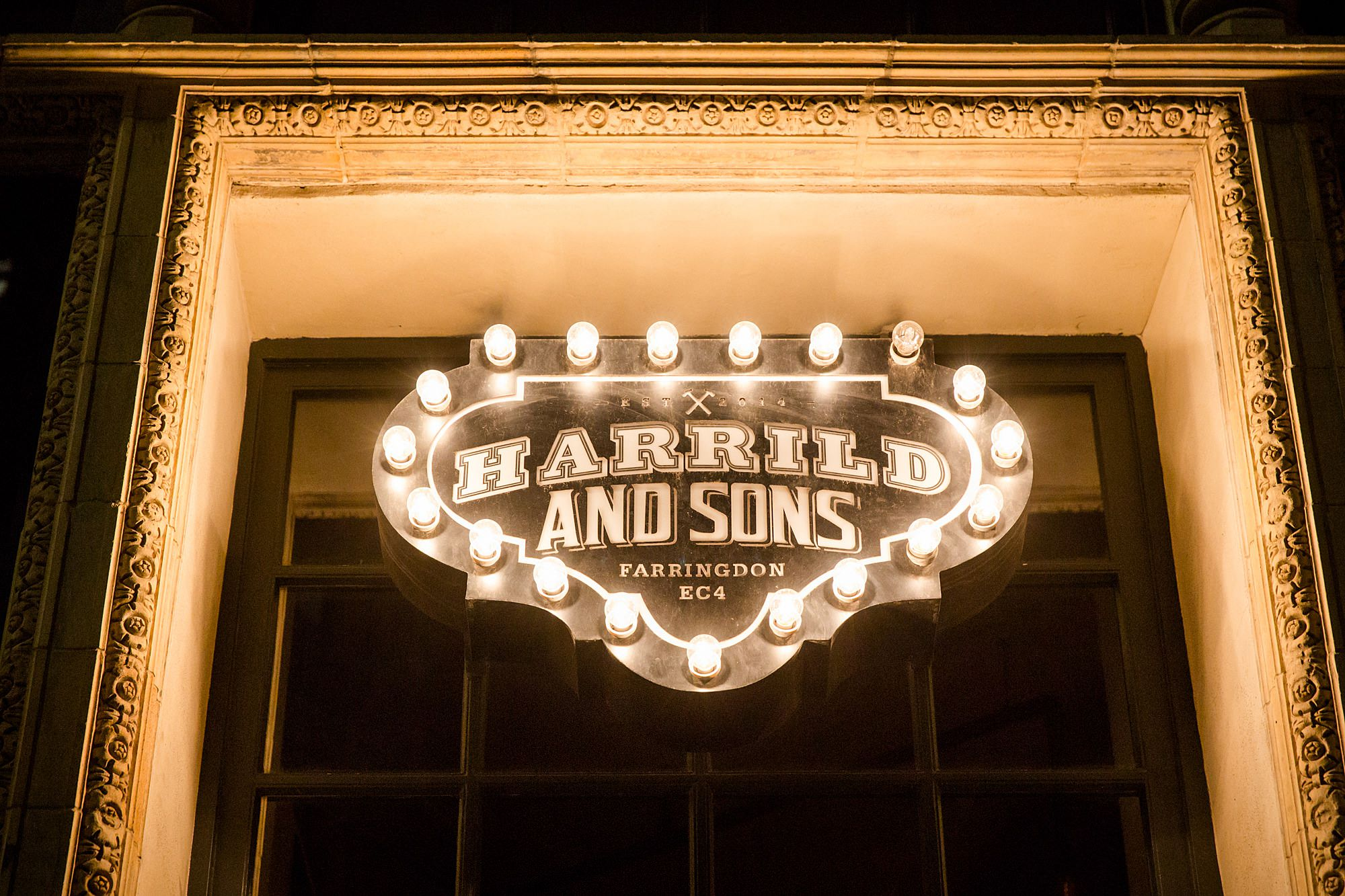 Harrild and sons illuminated bar sign
