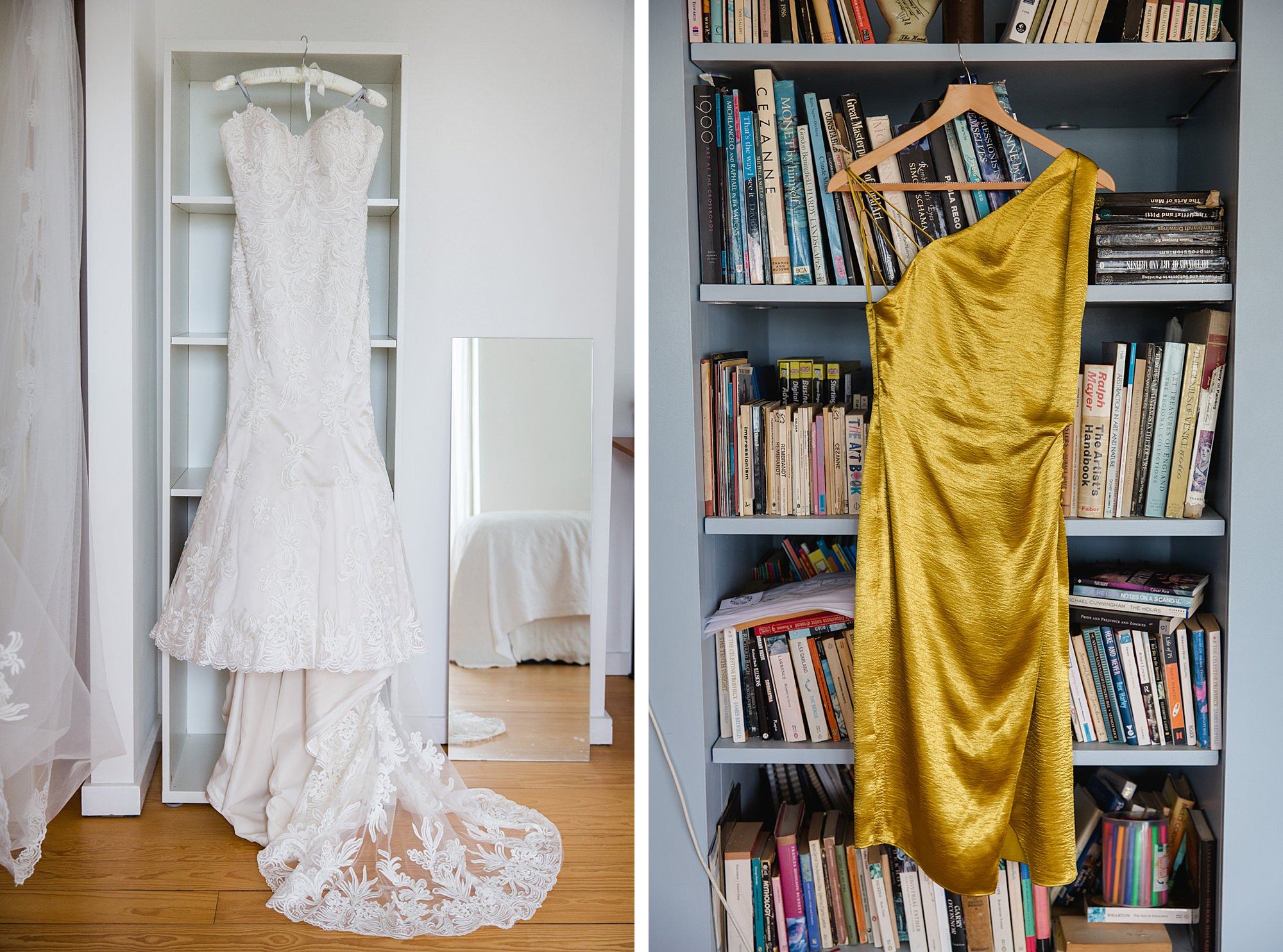 wedding dress and gold bridesmaid dress