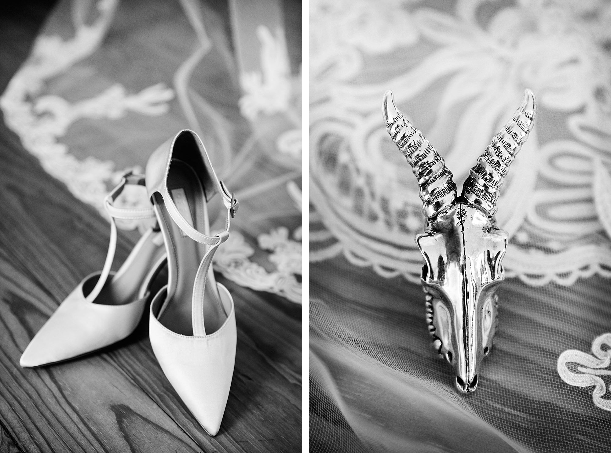 bride's wedding shoes and skull ring