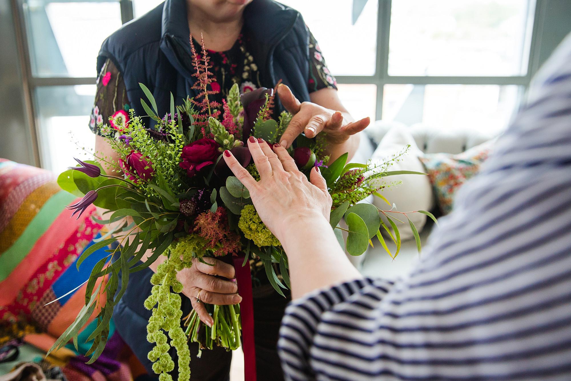 close up of bride's bouquet flowers