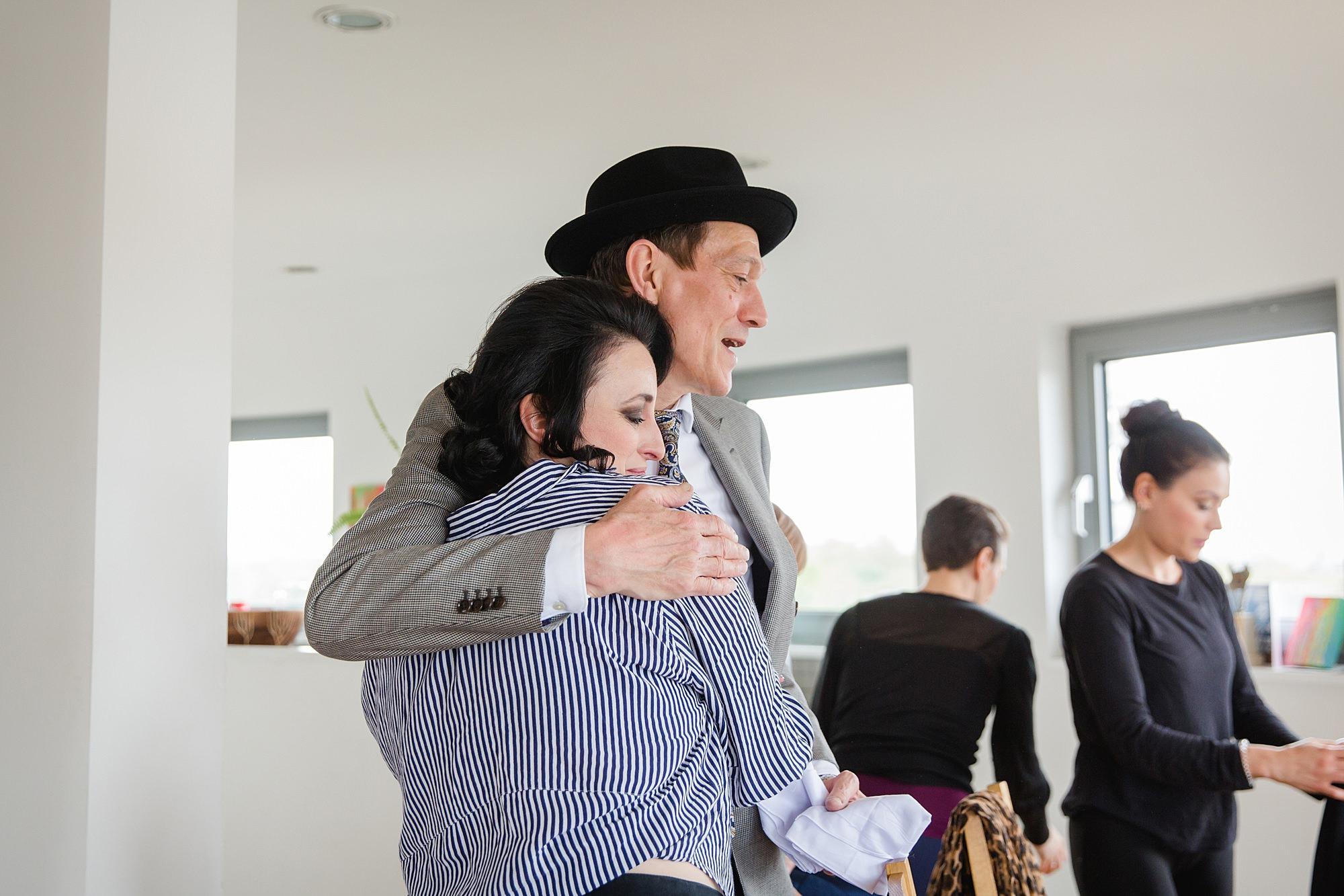 Brunel museum wedding bride hugs her dad