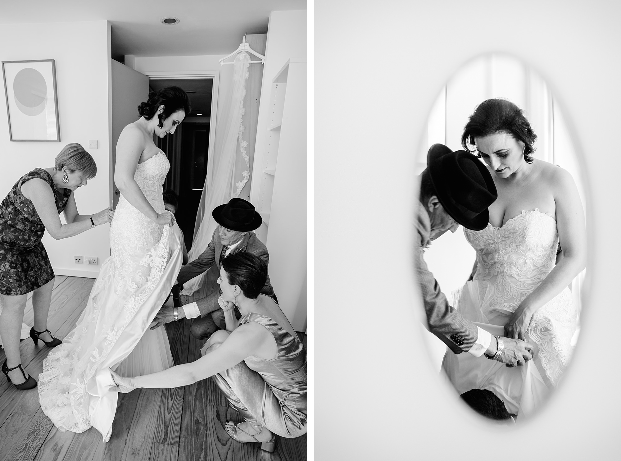 bride's family help her put on wedding dress