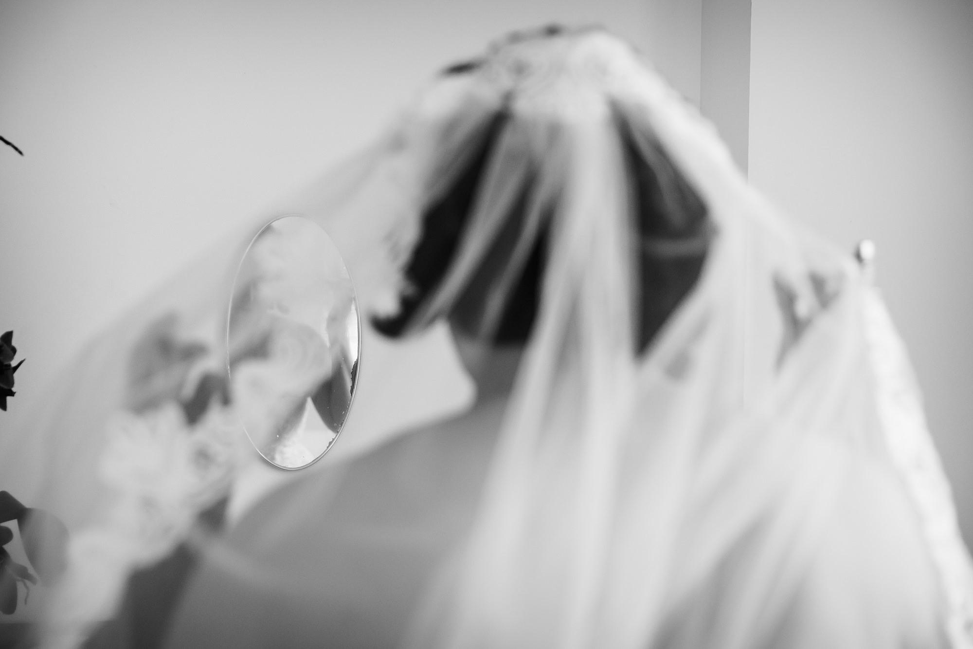 back of bride's veil