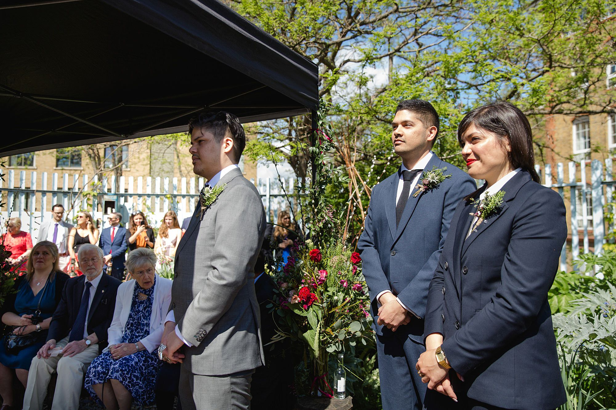 Brunel museum wedding groom waits for bride's entrance