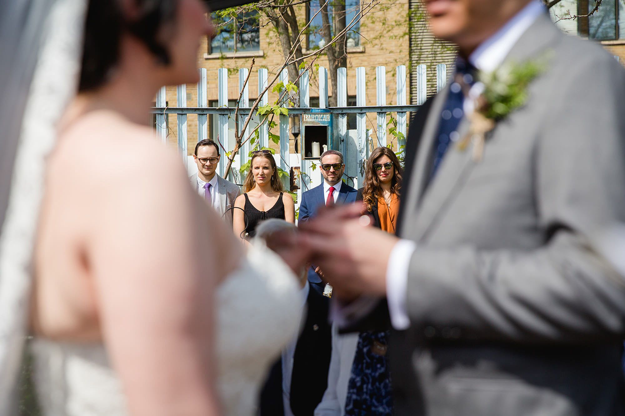 Brunel museum wedding guests watch bride and groom exchanging rings