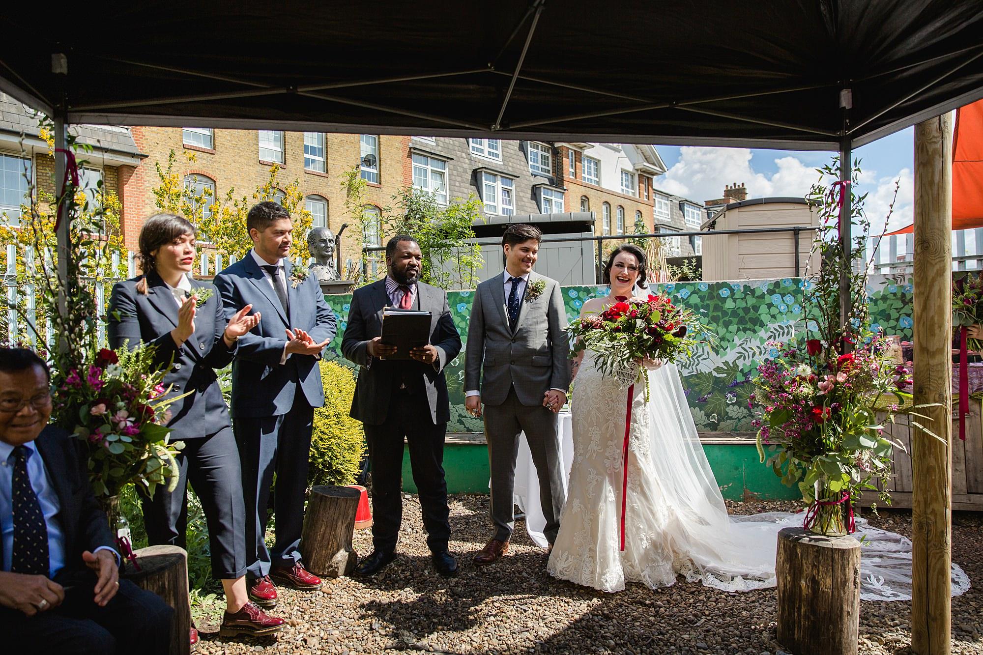 Brunel museum wedding bride and groom after wedding ceremony