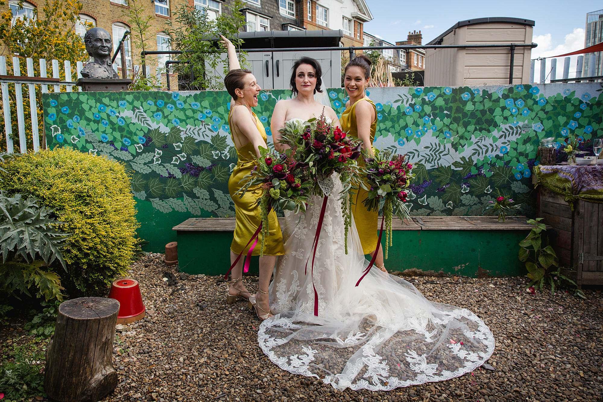 Brunel museum wedding fun bride and bridesmaids