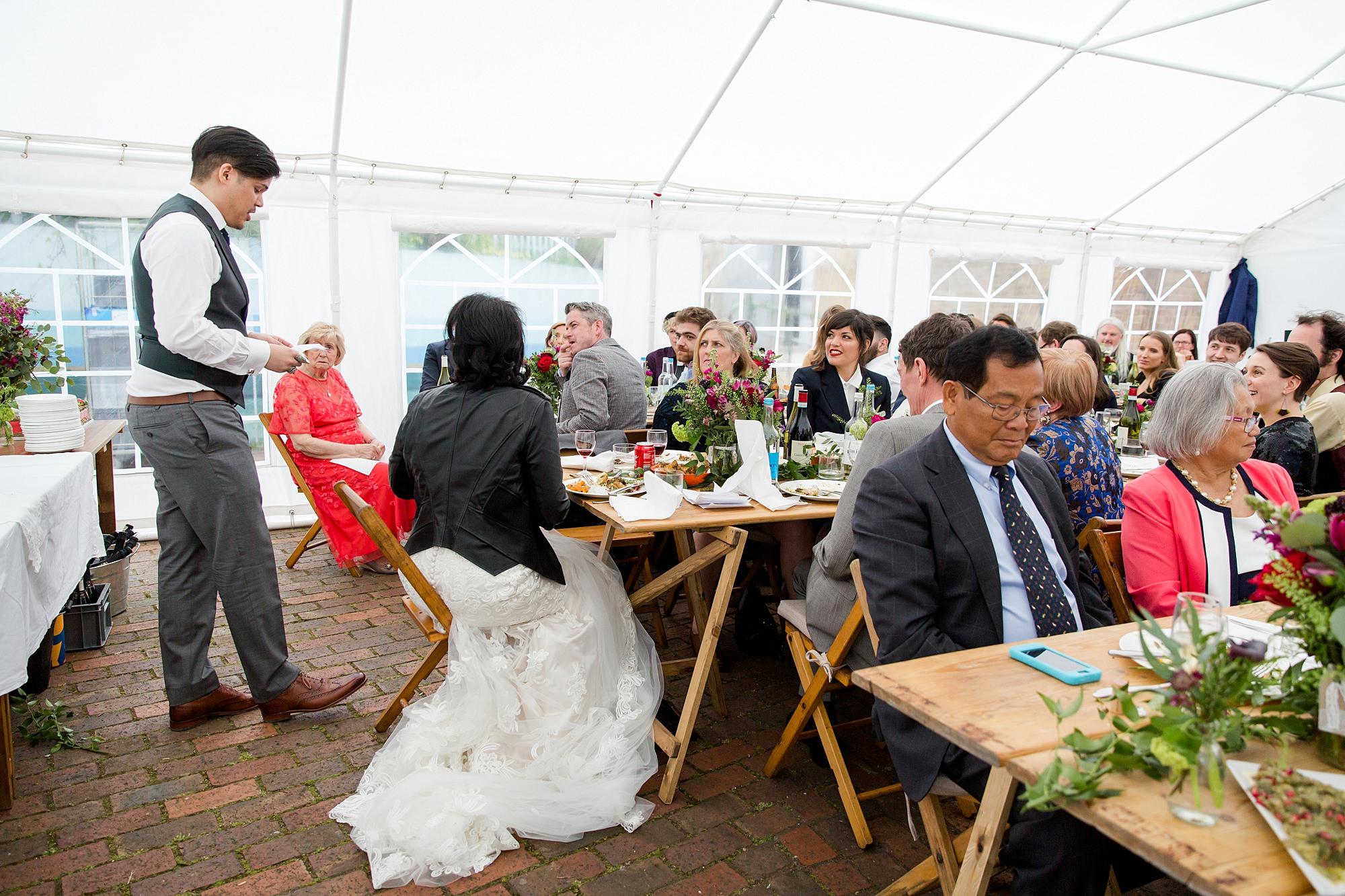 groom making a speech at brunel museum wedding