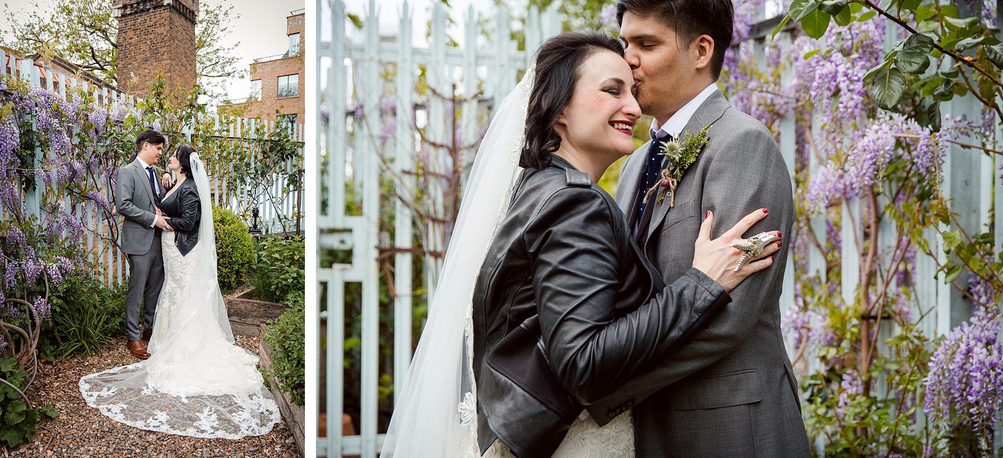 Brunel museum wedding bride and groom in garden