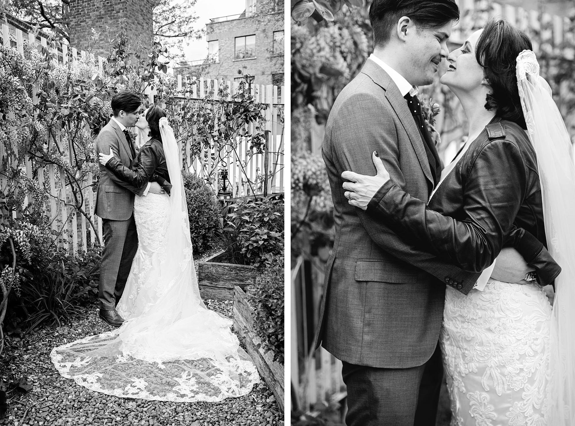 Brunel museum wedding groom and bride in garden