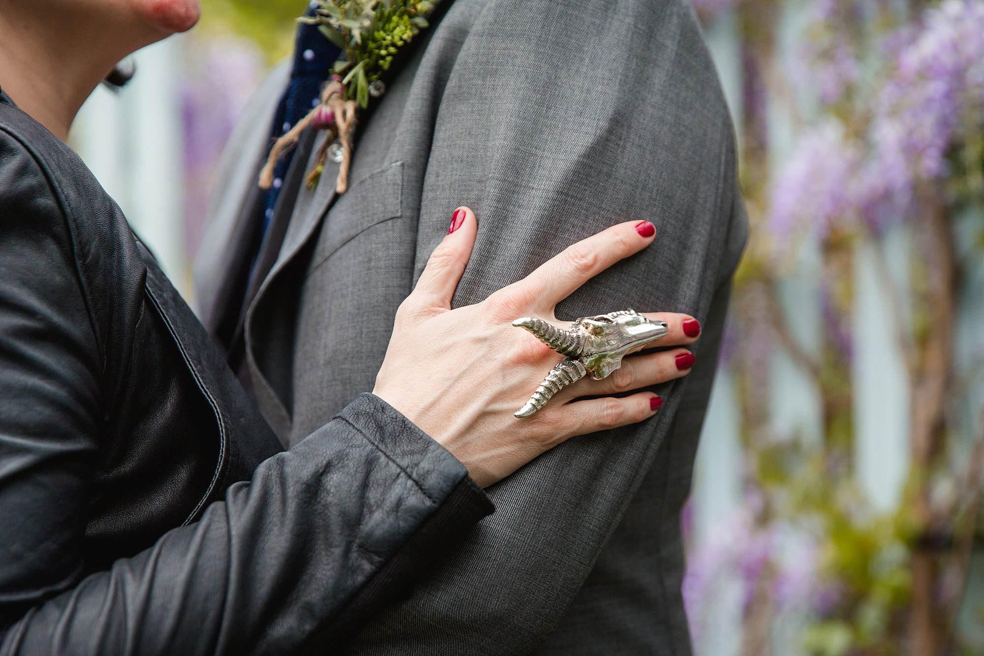 Brunel museum wedding close up of bride's skull ring