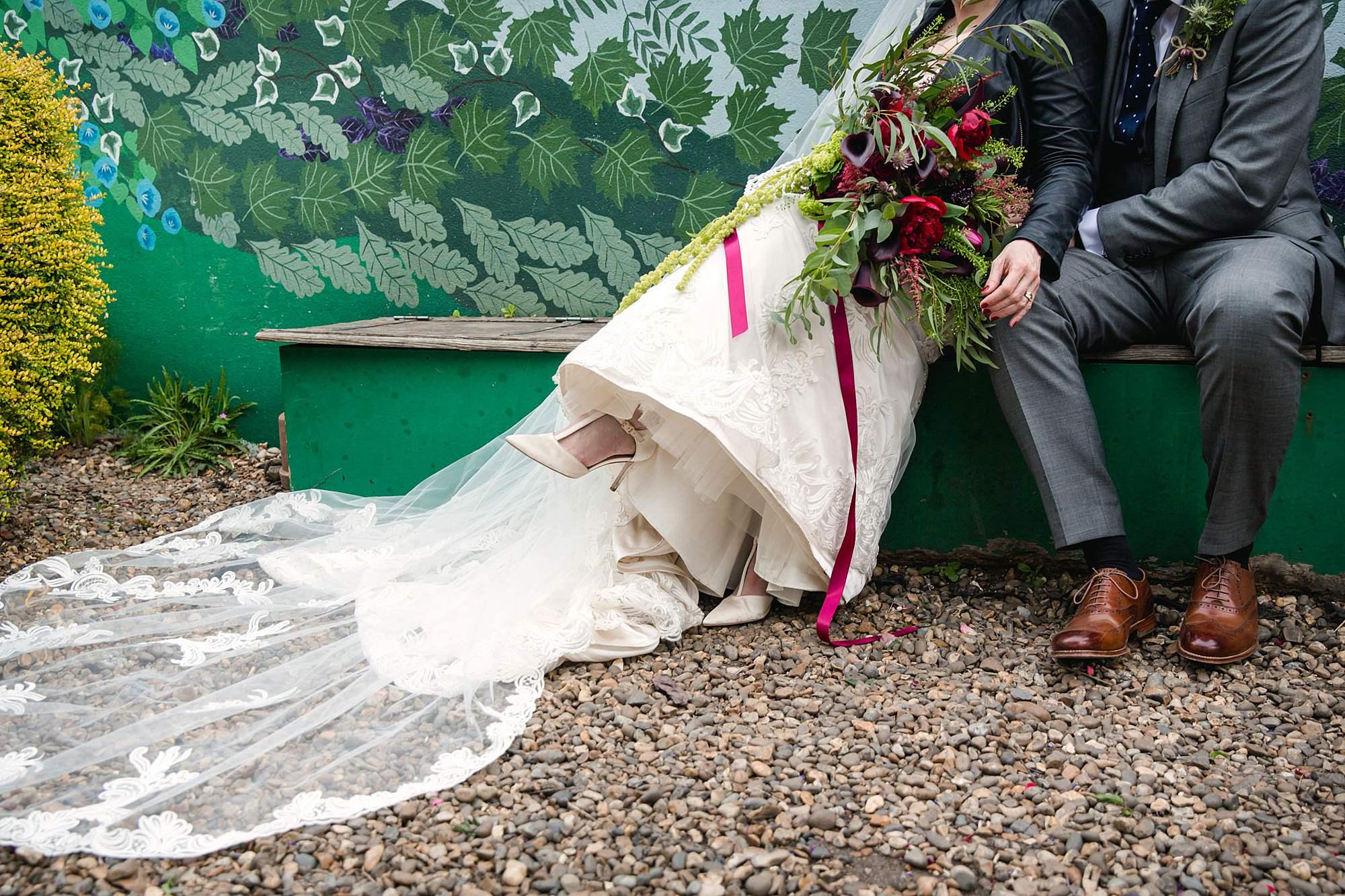 Brunel museum wedding bride and groom's feet