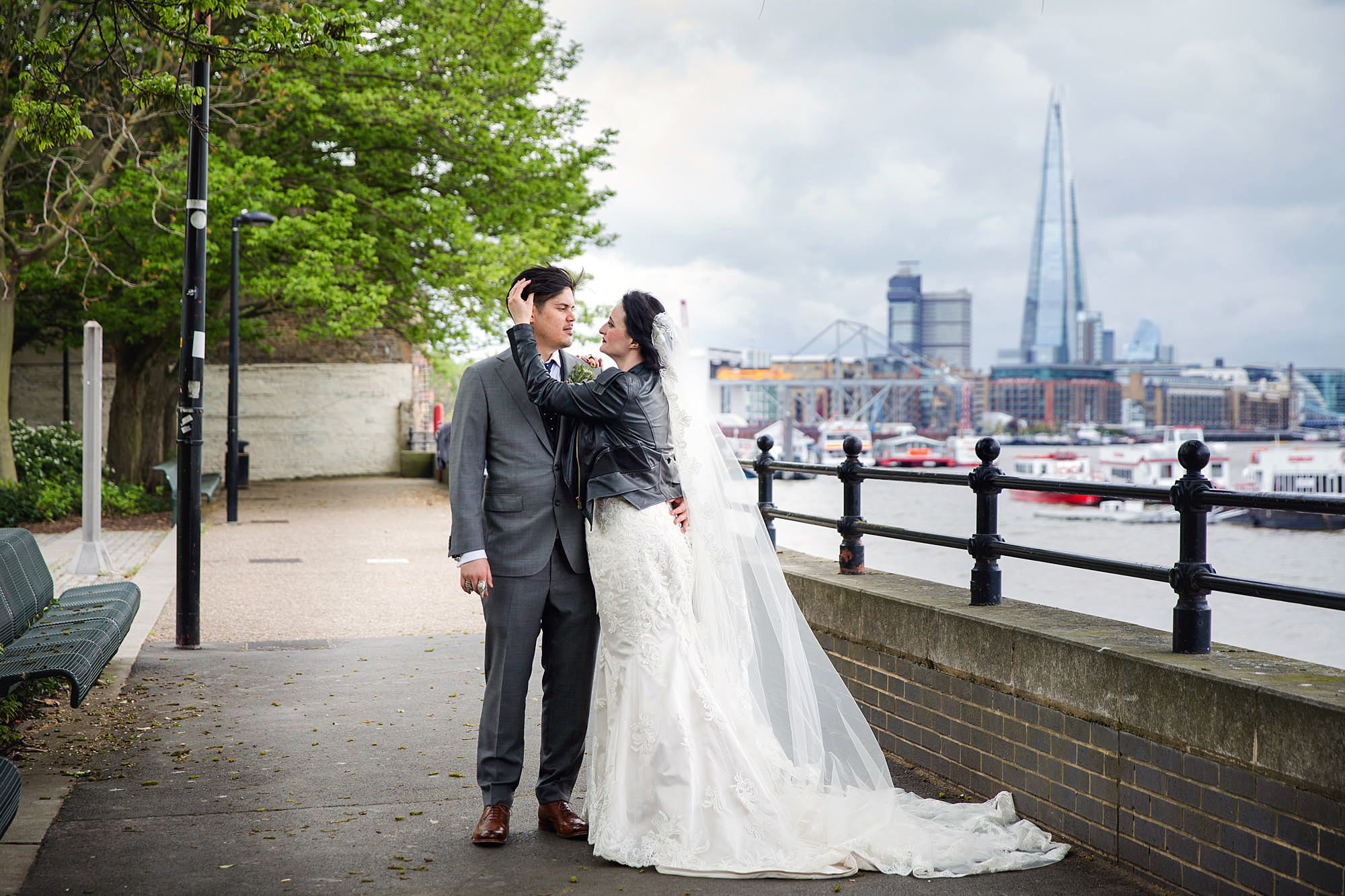 Brunel museum wedding bride and groom with Shard in the background