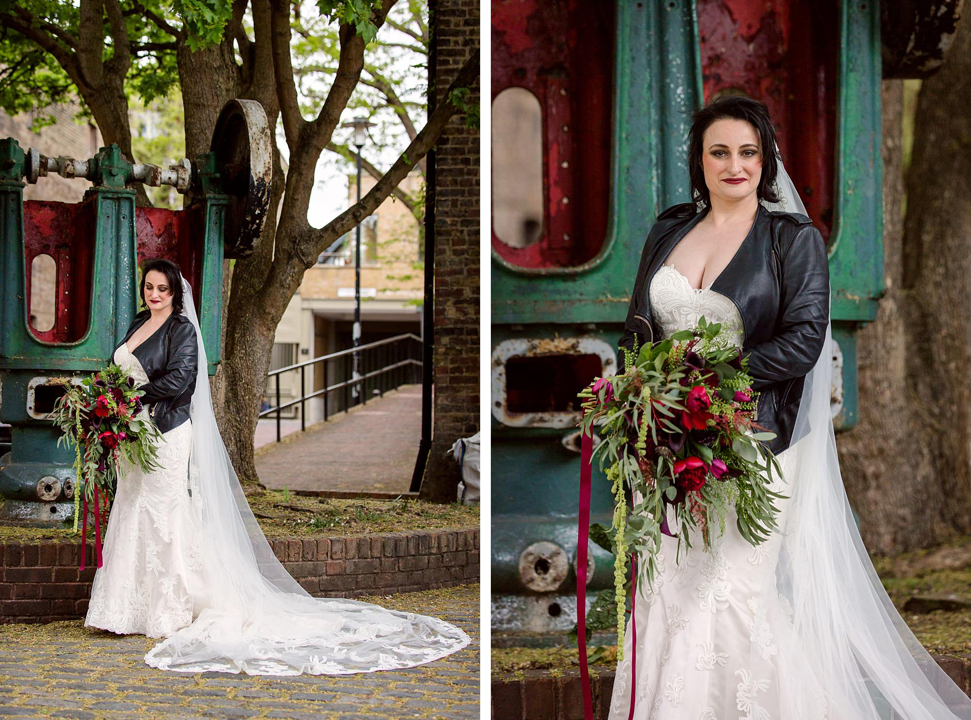 Brunel museum wedding portrait of bride by machinery